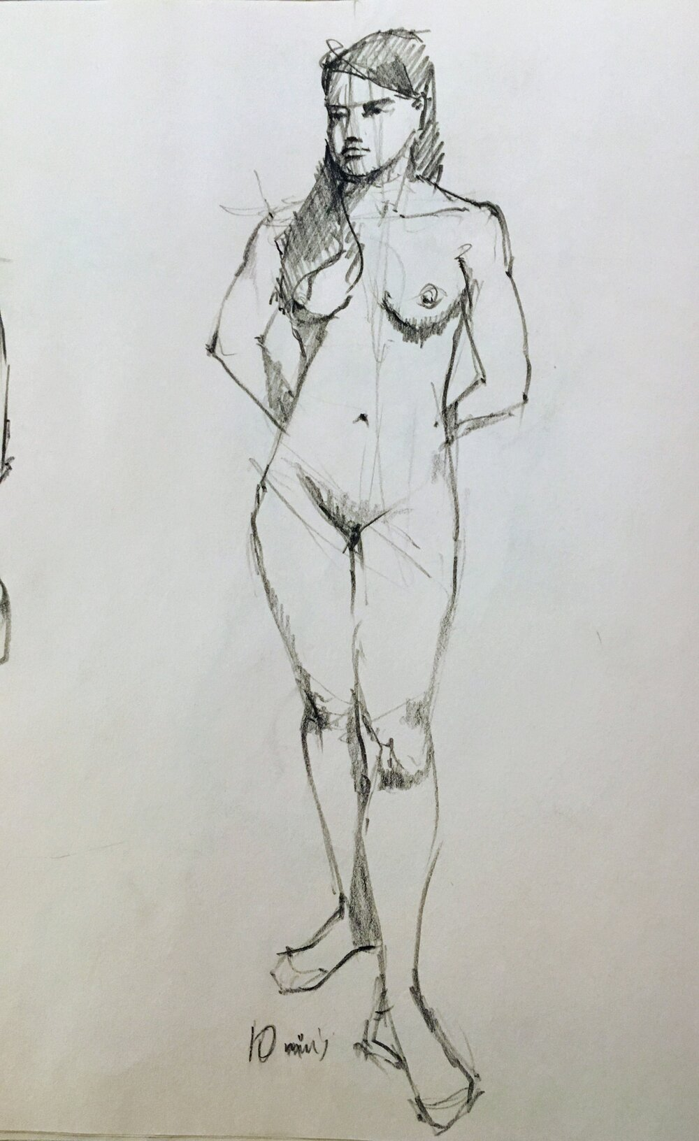 Life drawing. Michele Clamp. Conte pencil on newsprint