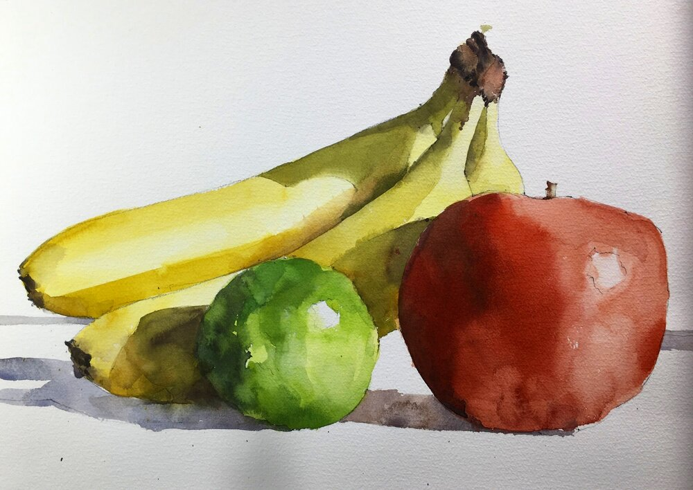 """Fruit Still Life. Michele Clamp. Watercolor. 11""""x14"""""""