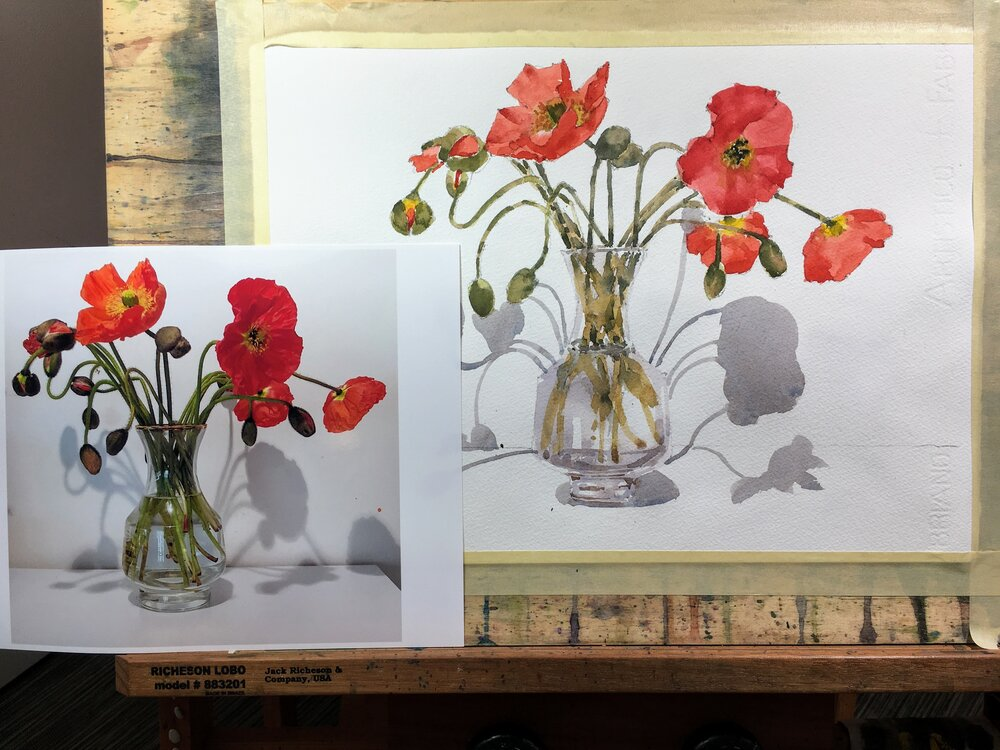 "Poppies.   Michele Clamp.   Watercolor.  11""x14"""