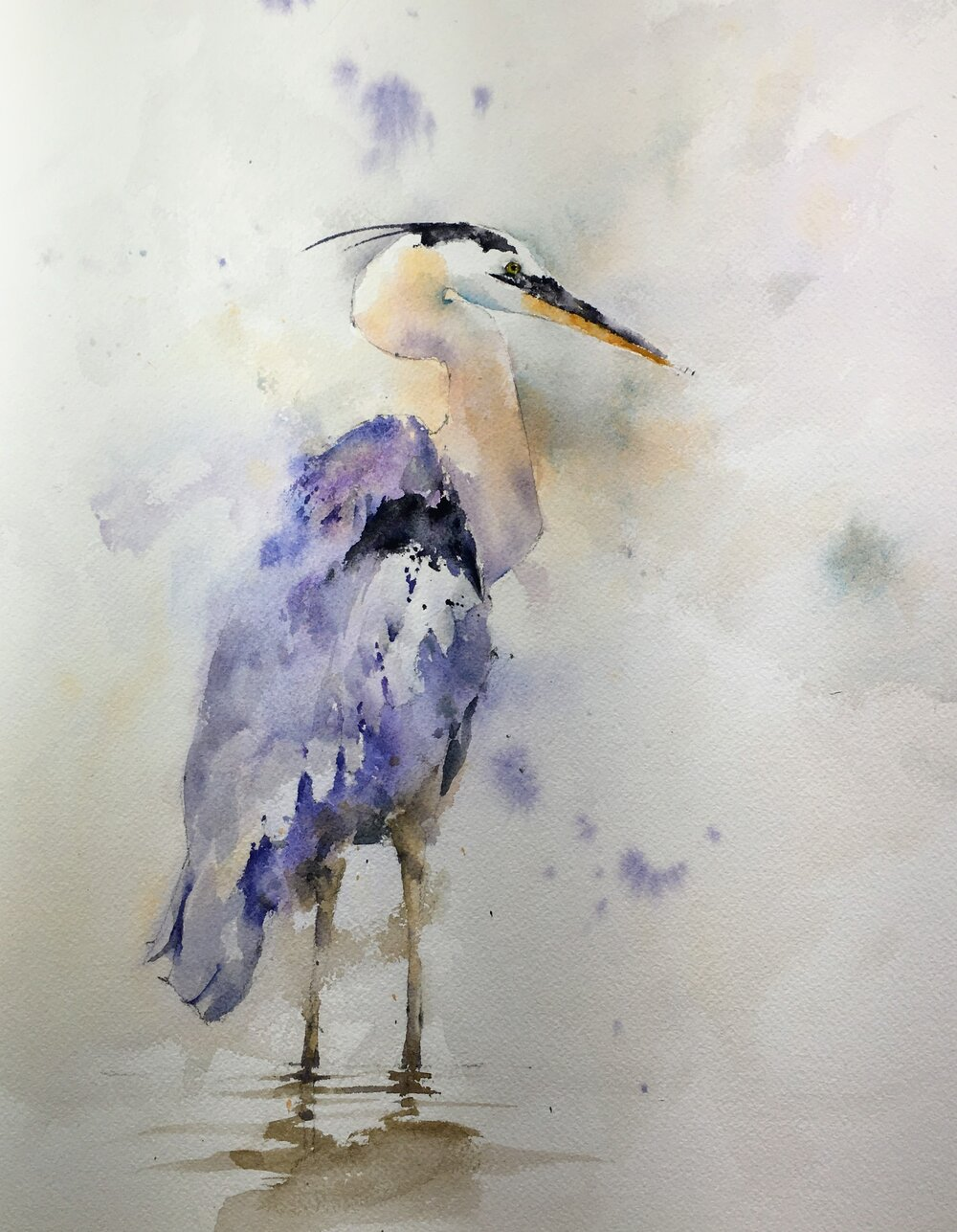 "Wading Blue Heron. Michele Clamp. Watercolor 14""x11"""