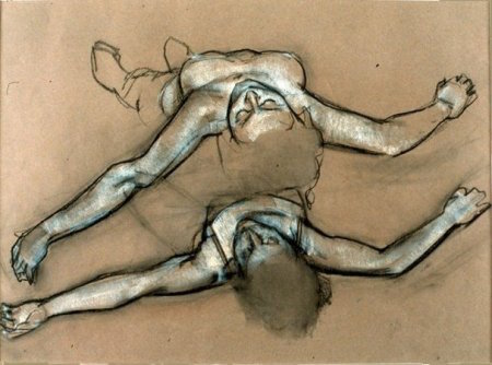 Reclining Female Figure (Study for  In the Waves ) charcoal and chalk, 1991