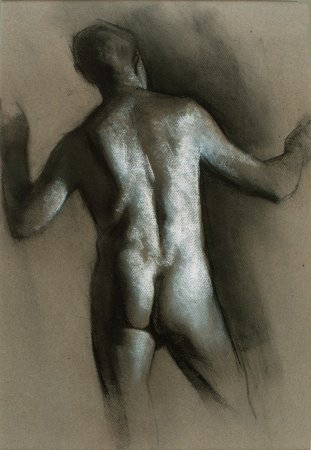 Conrad's Back, charcoal and chalk, 1991