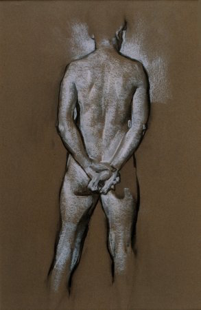 Conrad, Hands Clasped Behind Back, charcoal and chalk, 1991