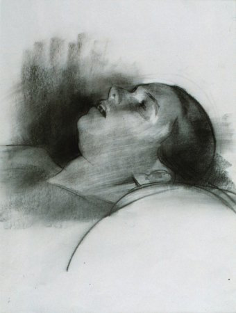 Head on Pillow (Study for  Execution ), charcoal and chalk, 1991