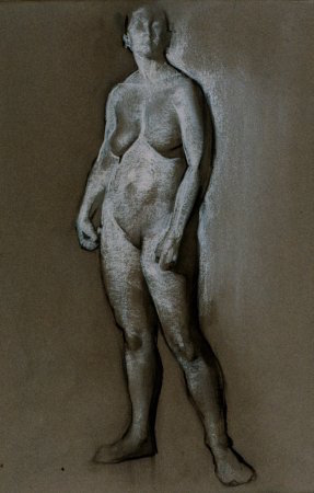 Standing Female Figure (Study for  Diana and Acteon ), charcoal and chalk, 1991