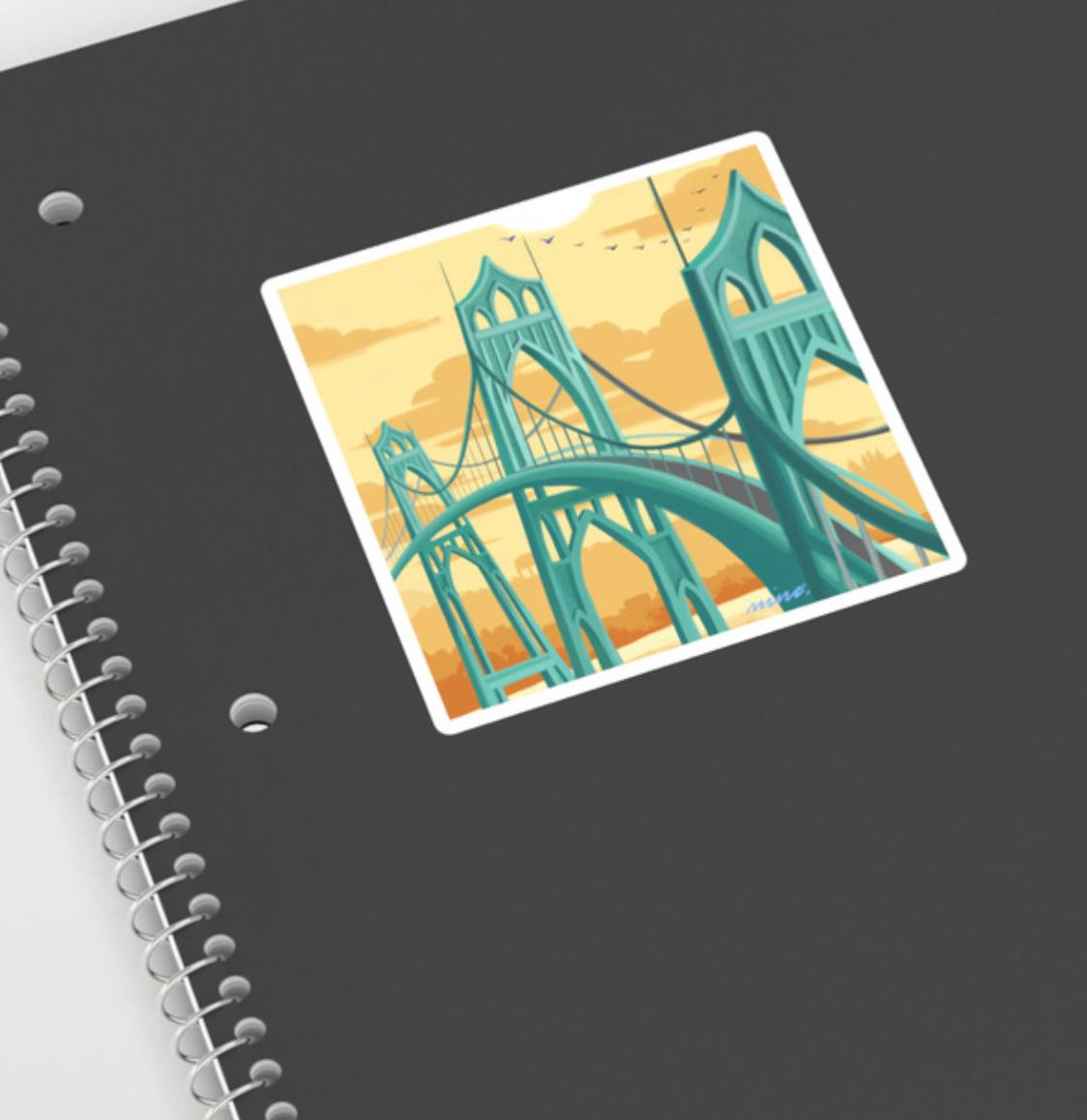 "St Johns Bridge Sticker 4"""