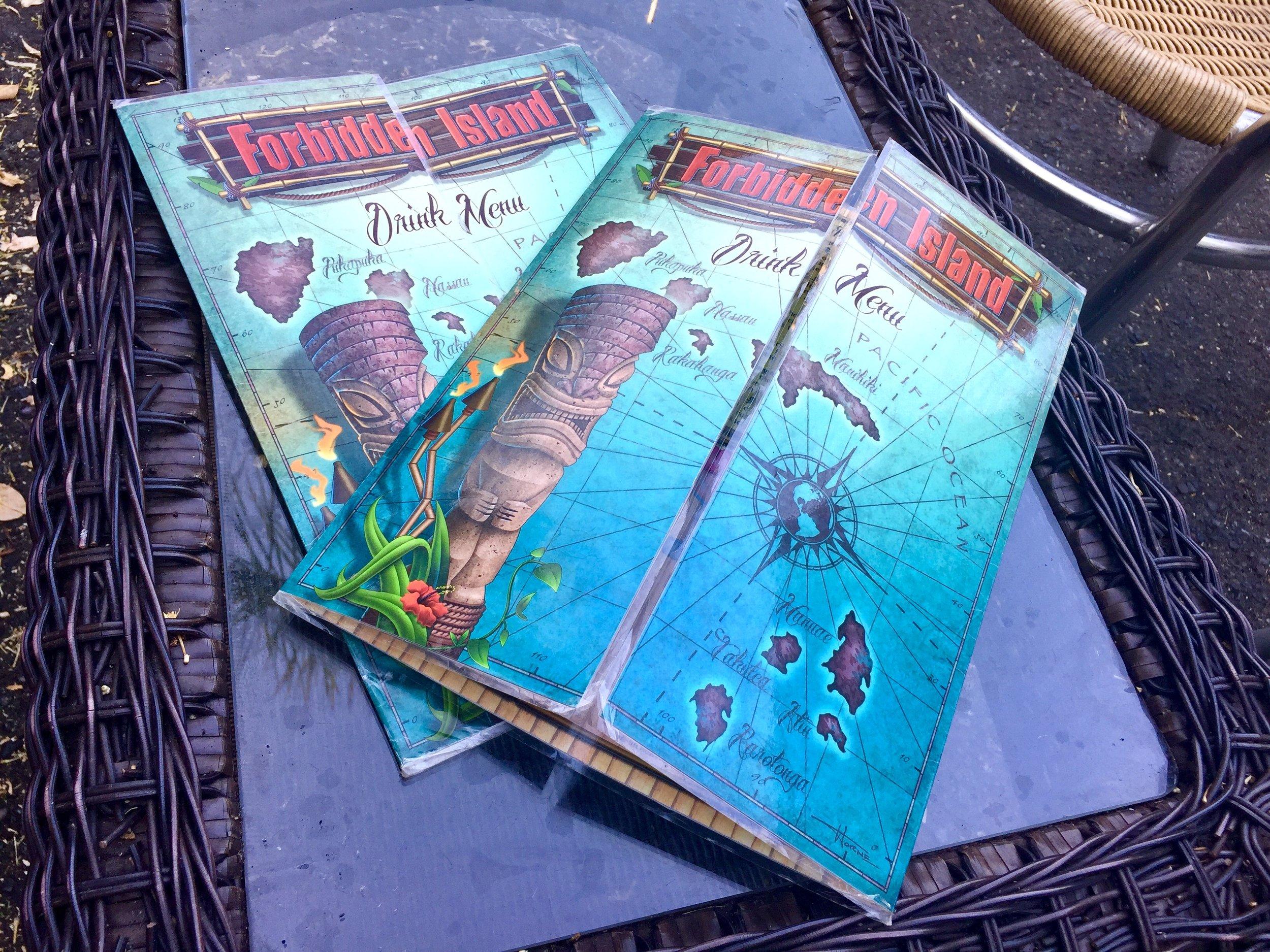 Forbidden Island's menu...