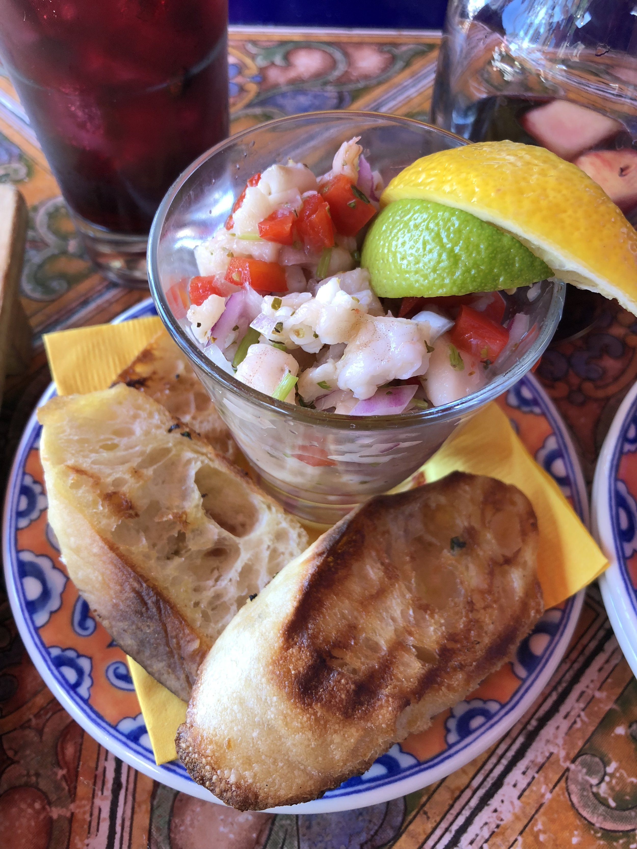 Shrimp and red snapper ceviche