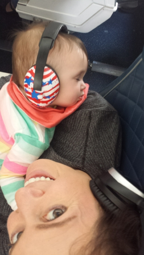 Cross Country Flying FIrst Class Seat on Mommy's Lap