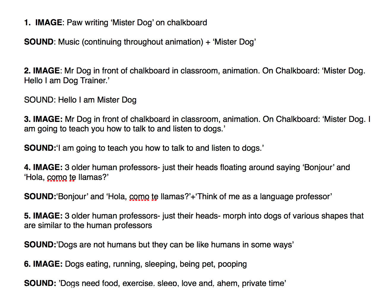 Excerpt from the script for  Mister Dog