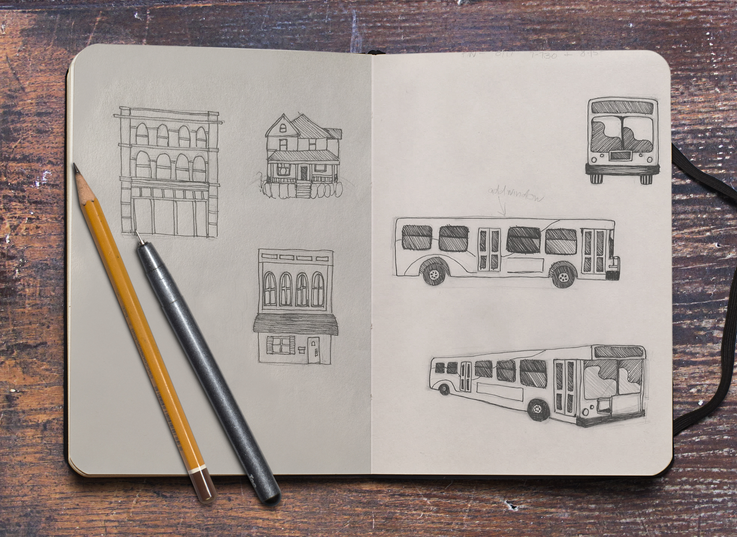 bus and building sketches
