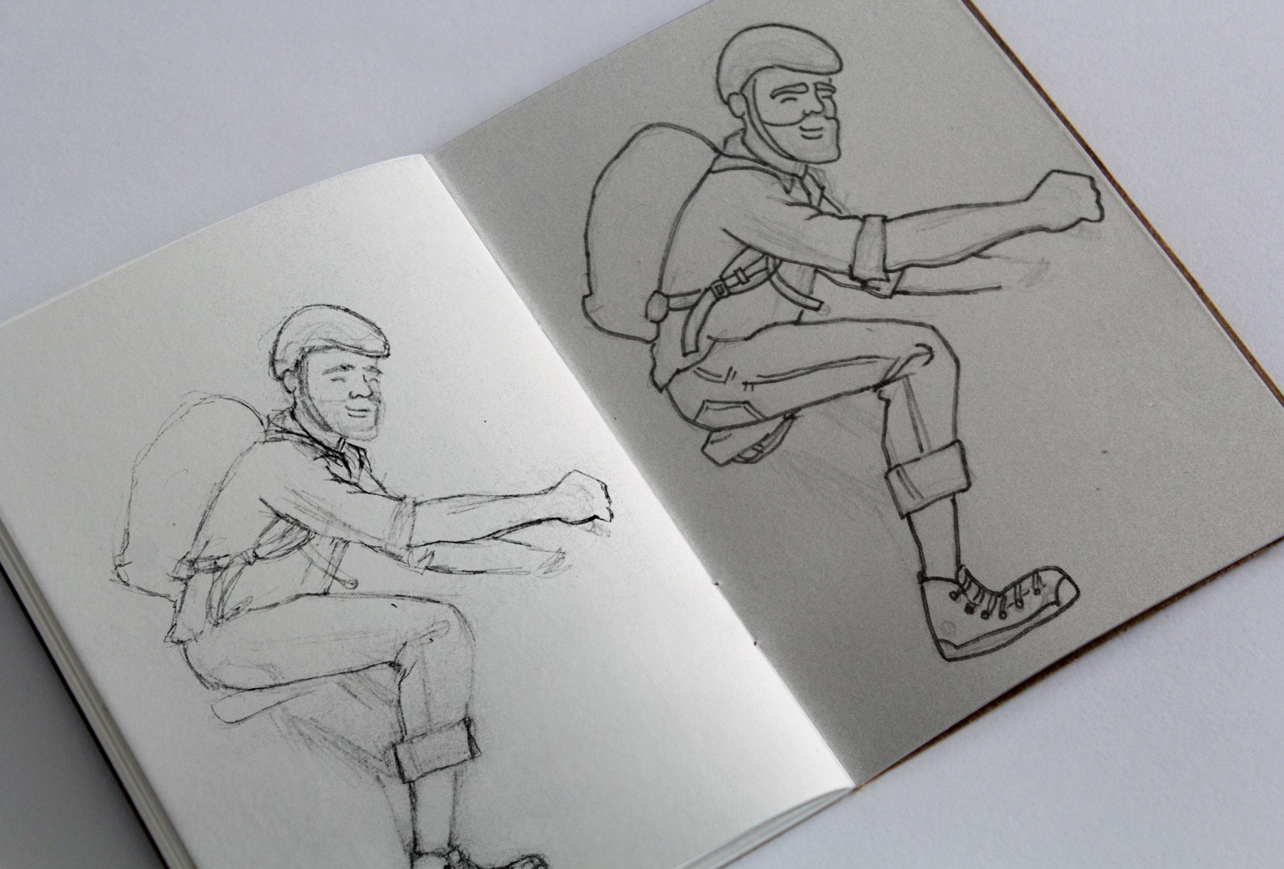 sketch of male bike commuter