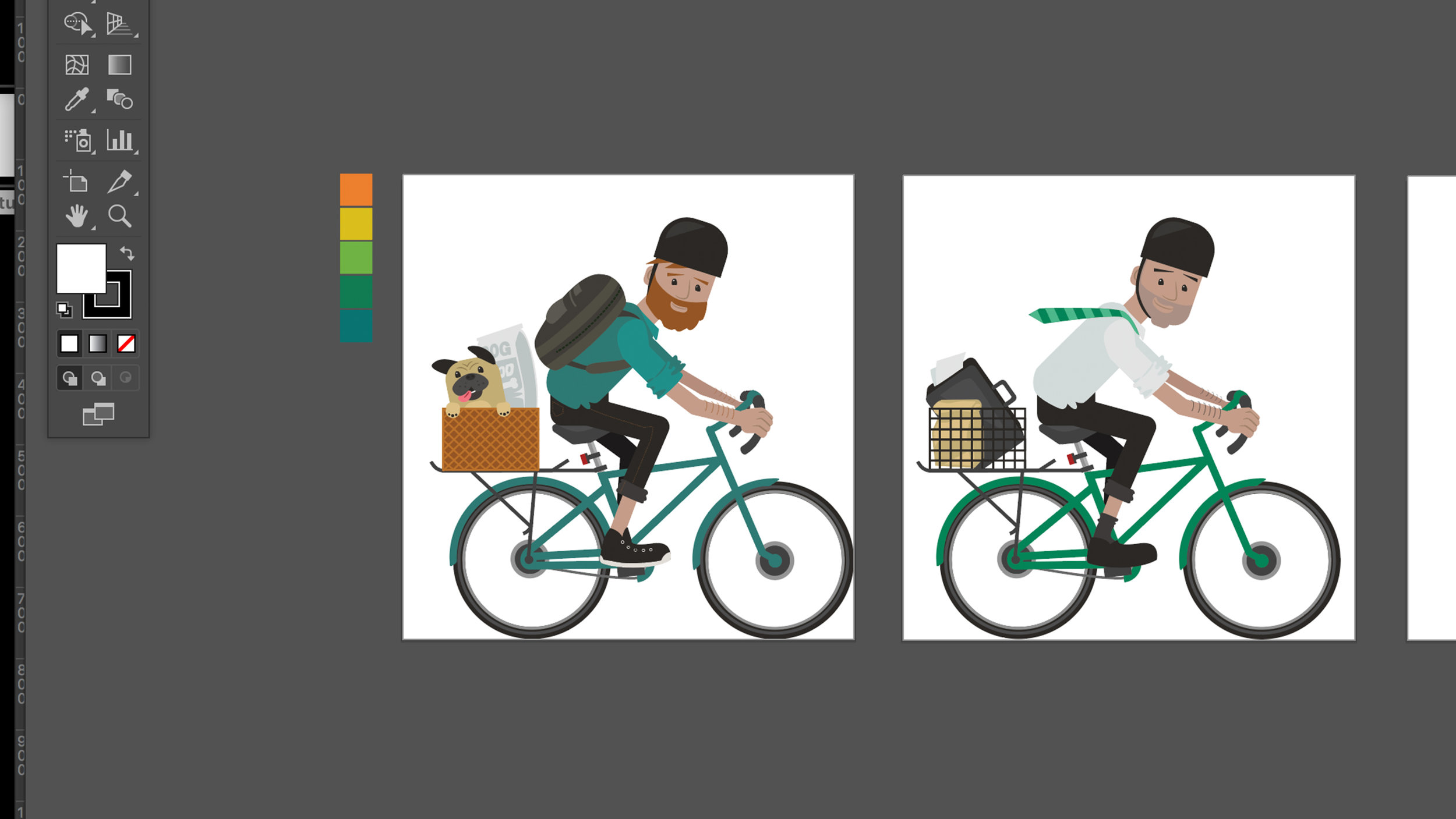 male commuters in progress – I stylized the original sketch in order to keep the design playful