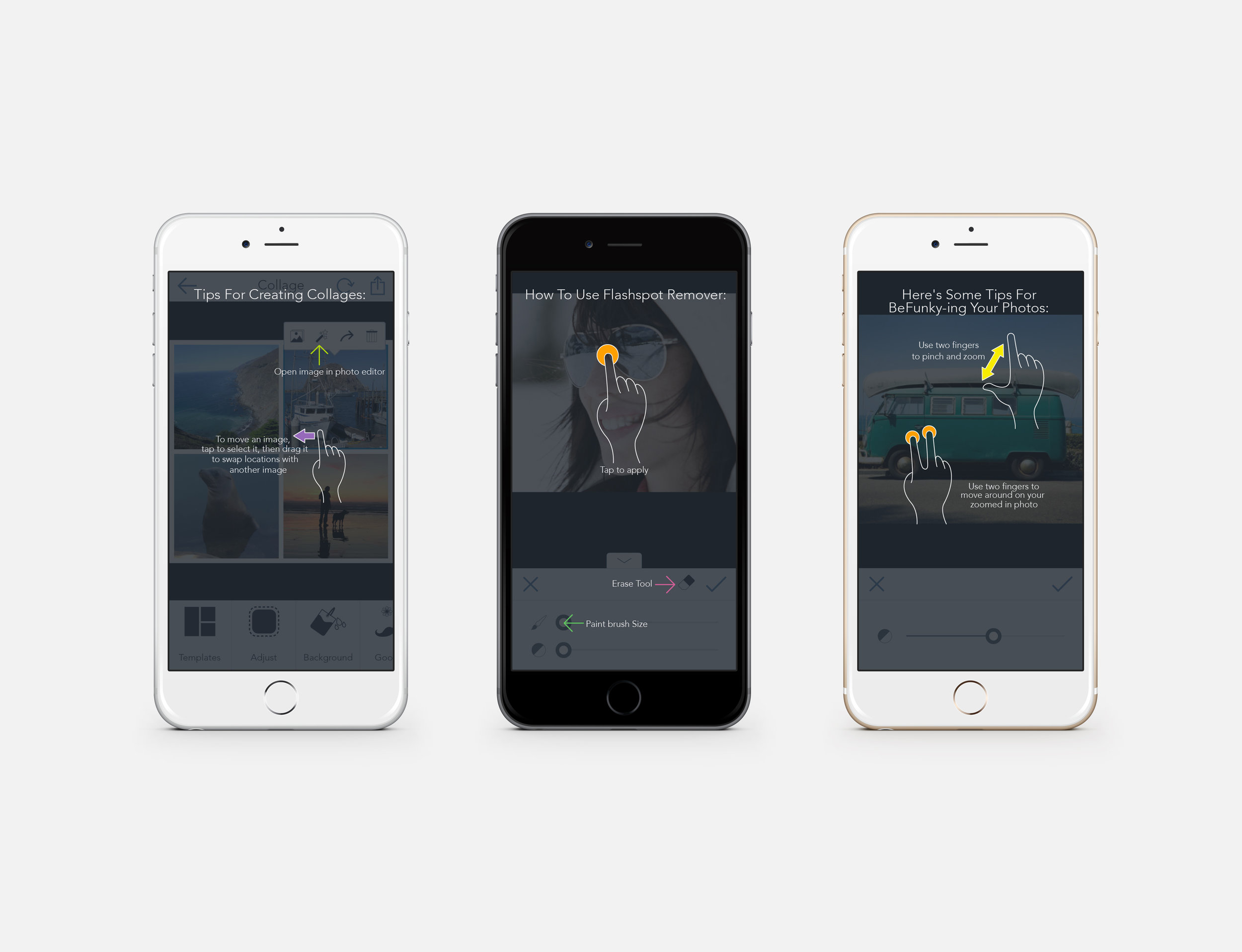 BeFunky mobile help screens