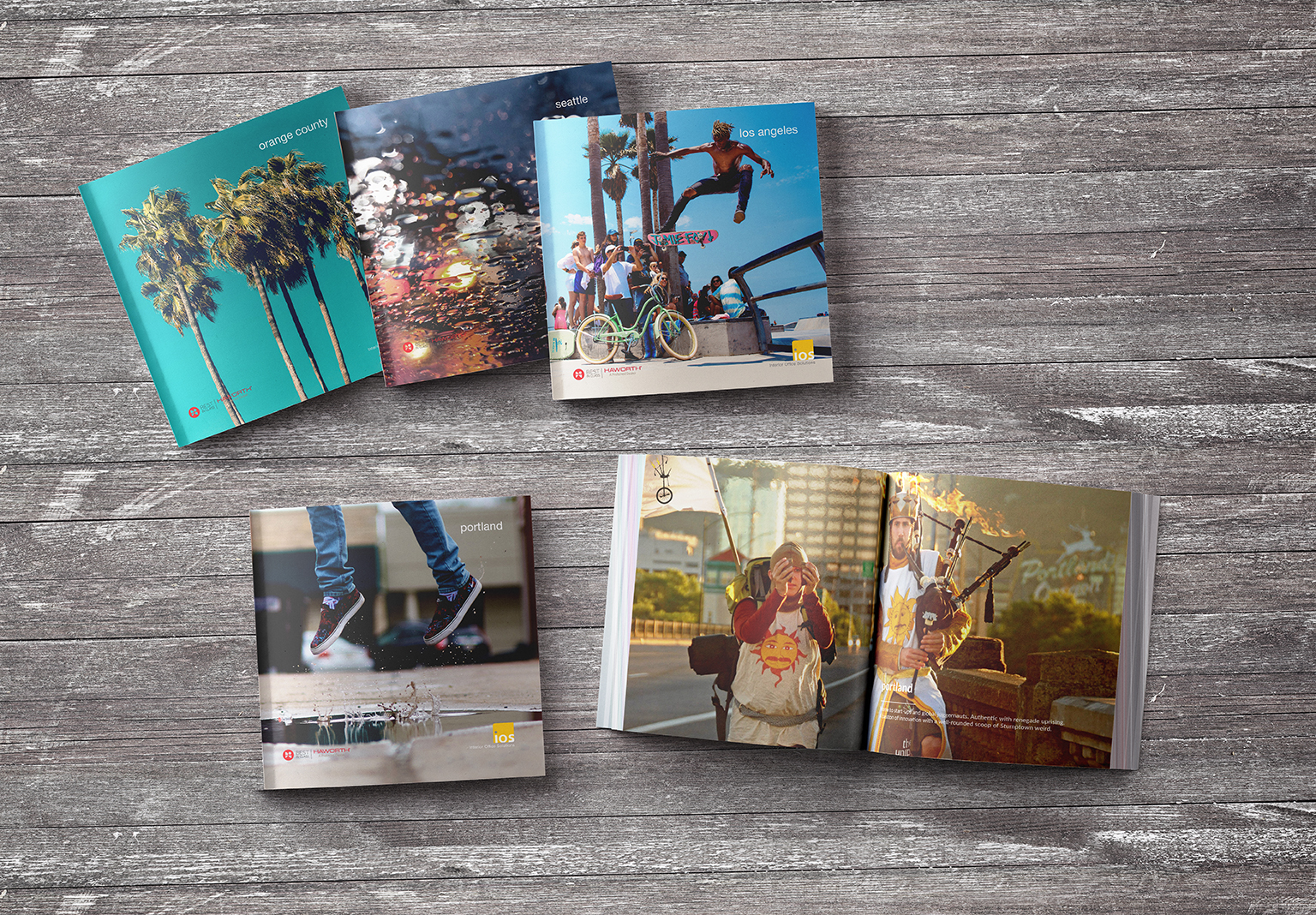 Books designed for each of the four showroom locations for Interior Office Solutions