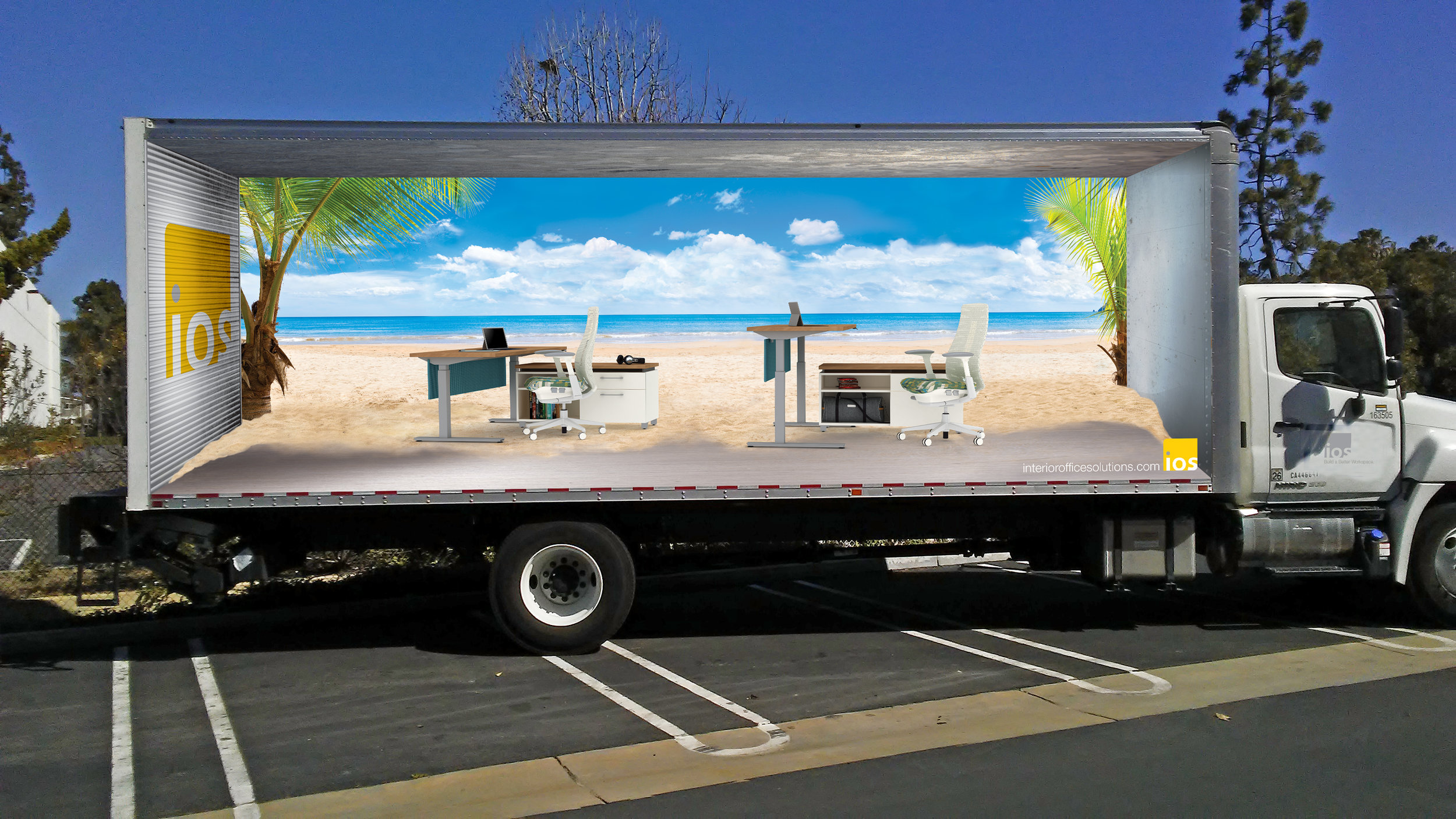 Truck wrap design for Interior Office Solutions' Southern California locations