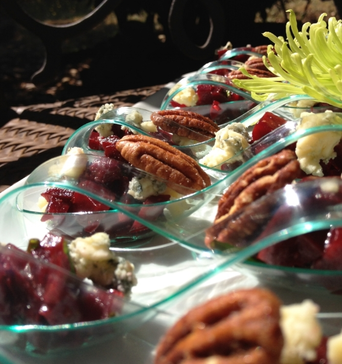 Tangerine & Chive Beet Salad w/Smoked Rogue Blue & Candied Pecan