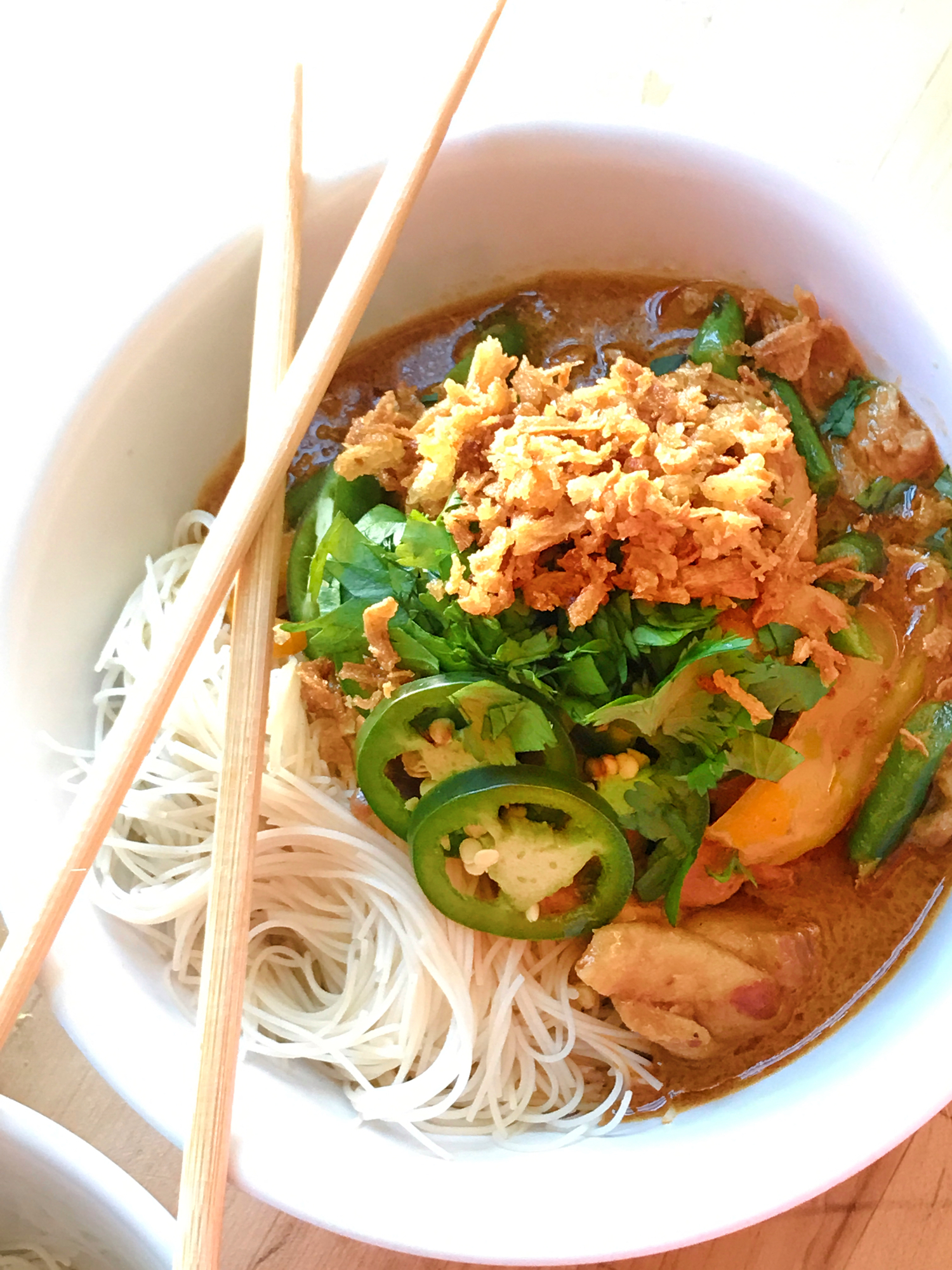 Thai Noodle Bowl with Chopsticks