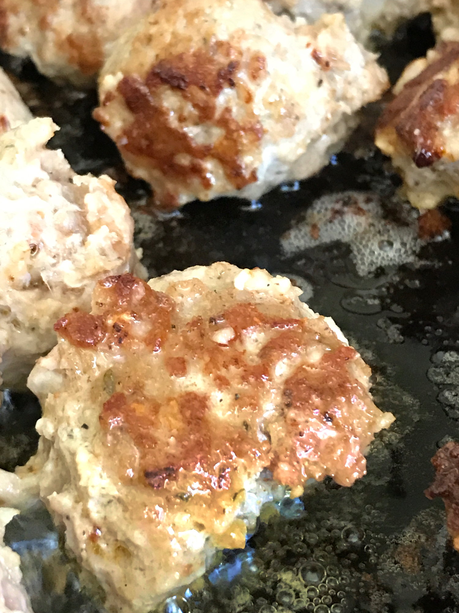 Brown Slowly - One of the successes of this dish is the slow and even browning of the meatballs in a little rendered bacon fat. Brown evenly, turning after each side reaches a golden color.