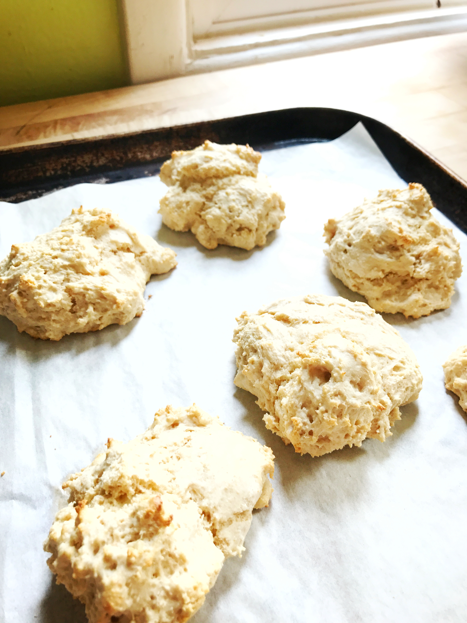 Fluffy vegan drop biscuits - for when you want that craggy dough with lots of crunch on the outside