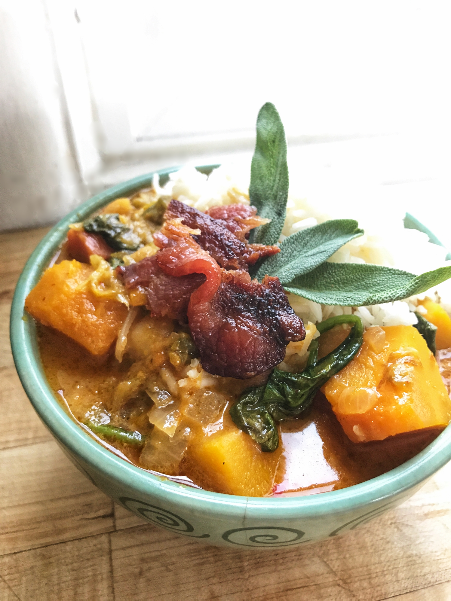 Sage, Bacon and Apples + Curry Paste, Fish Sauce & Coconut Milk = YUM!