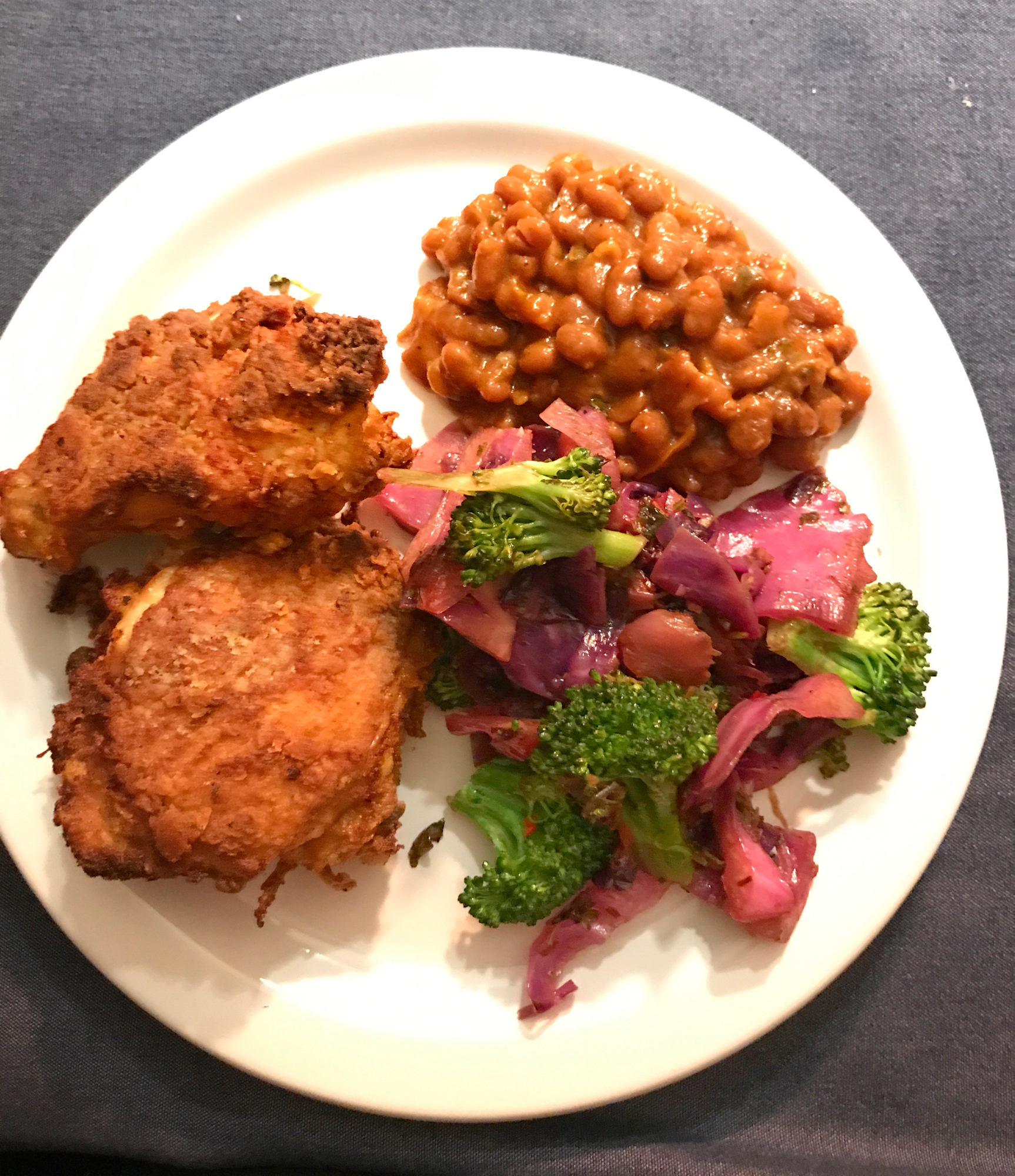 Mustard Fried Chicken, Baked Beans & Cabbage