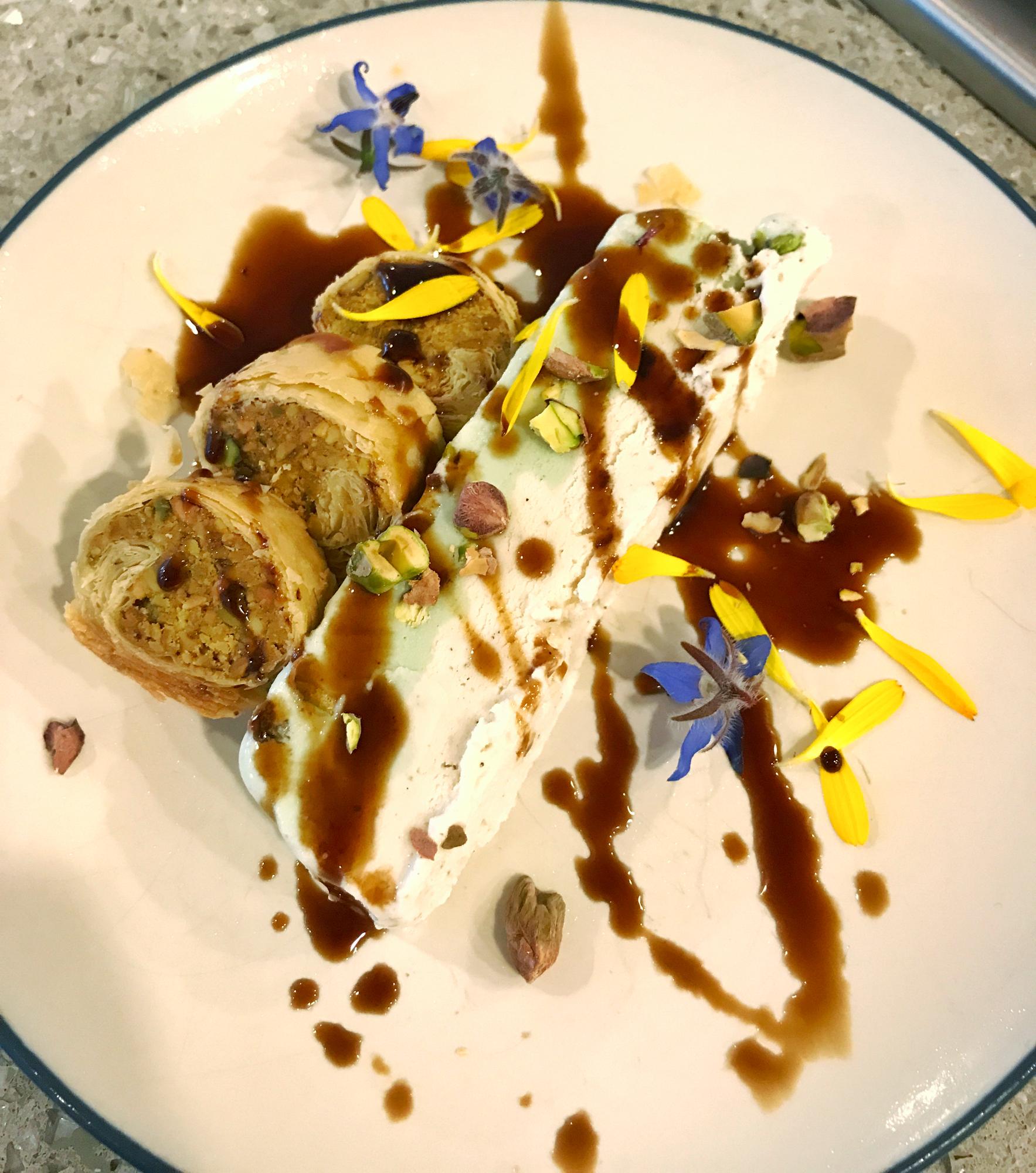 Pistachio Cardamon Gelato w/Baklava & Pomegranate Molasses Drizzle & Fresh Flowers