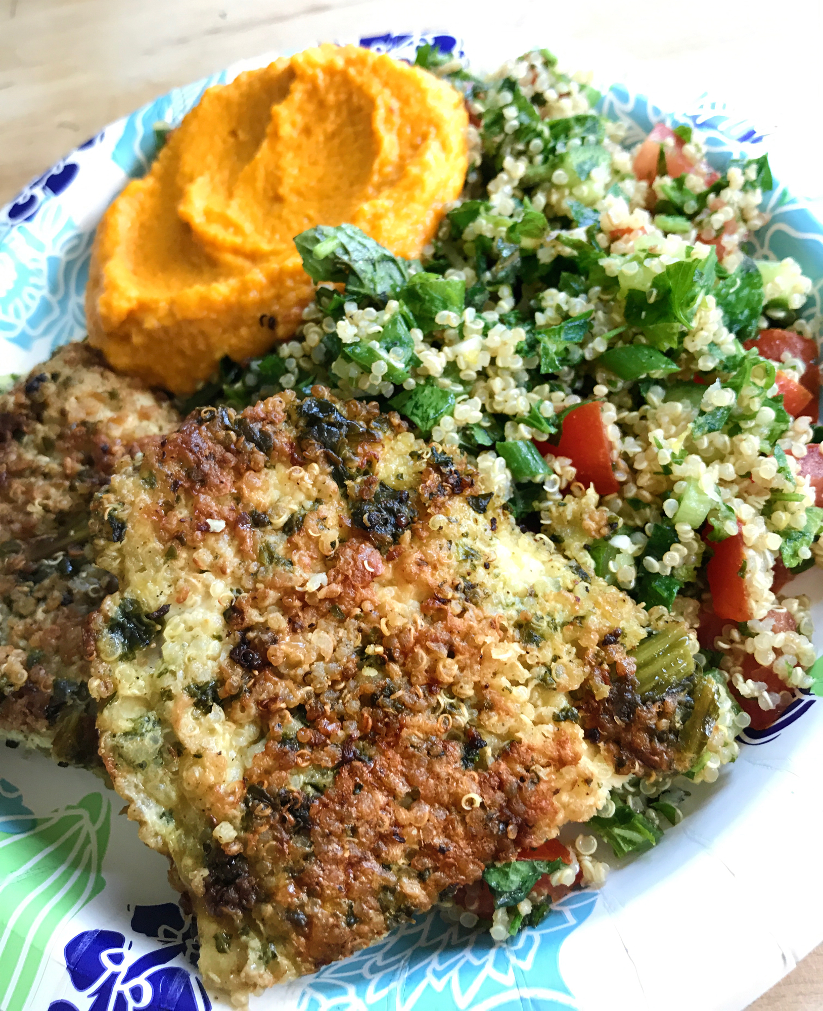 Quinoa Crusted Chicken, GF Tabouli and Carrot Hummus