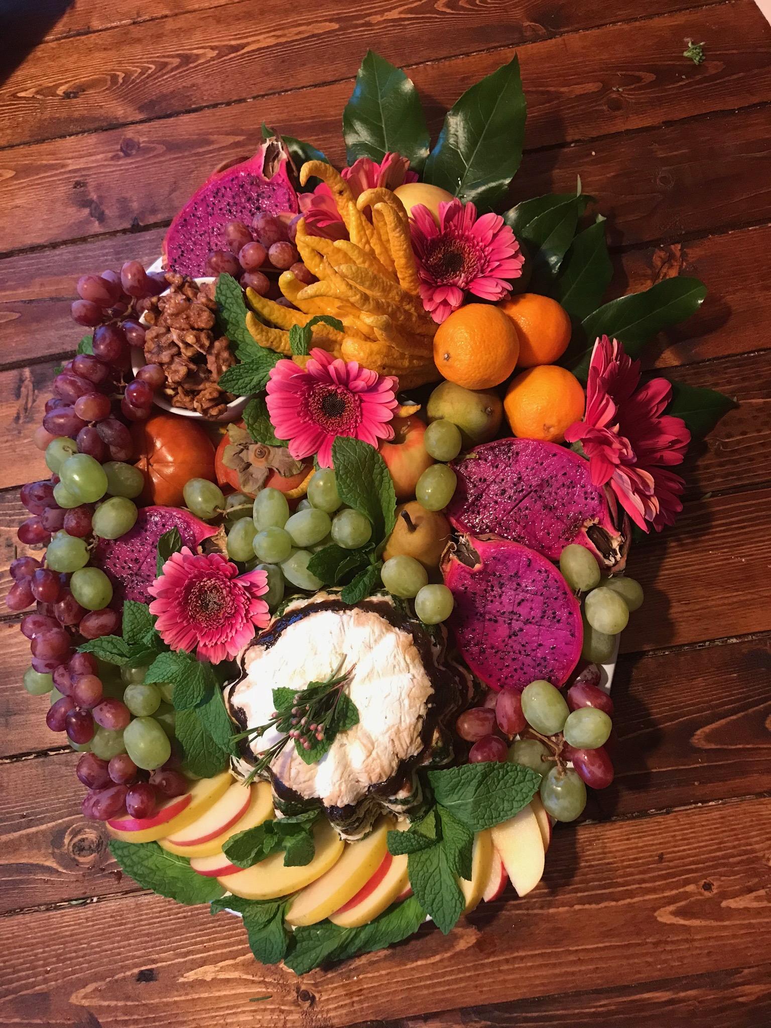 Goat Torte w/Fig Jam, Mint Pesto and Fresh Fruit Platter