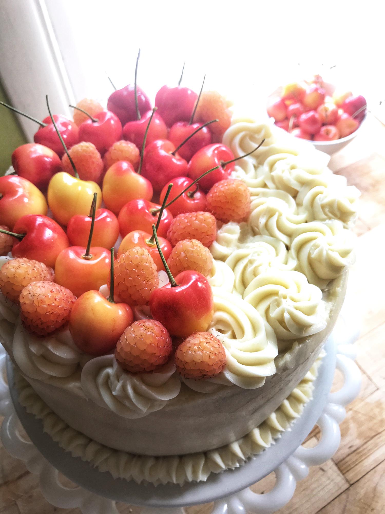 Fresh Cherry Buttermilk Layer Cake w/Mascarpone Buttercream