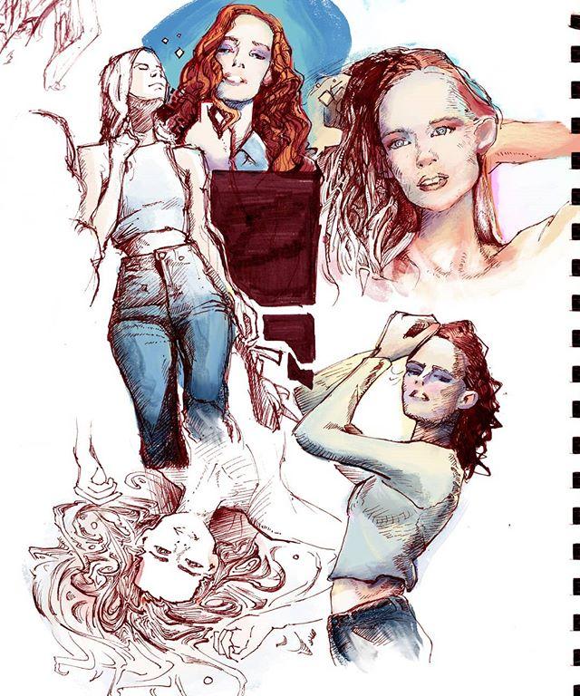India Red Ink makes me feel like I'm drawing with sorcerer's blood :o  Digital under a sketchbook page!Modelit to the wonderful @nataliieblake  #traditionalart #drawing #painting #digitalpainting #lamysafari #model #instaart #figuredrawing #sketch #sketchbook #redhair #redheadsdoitbetter