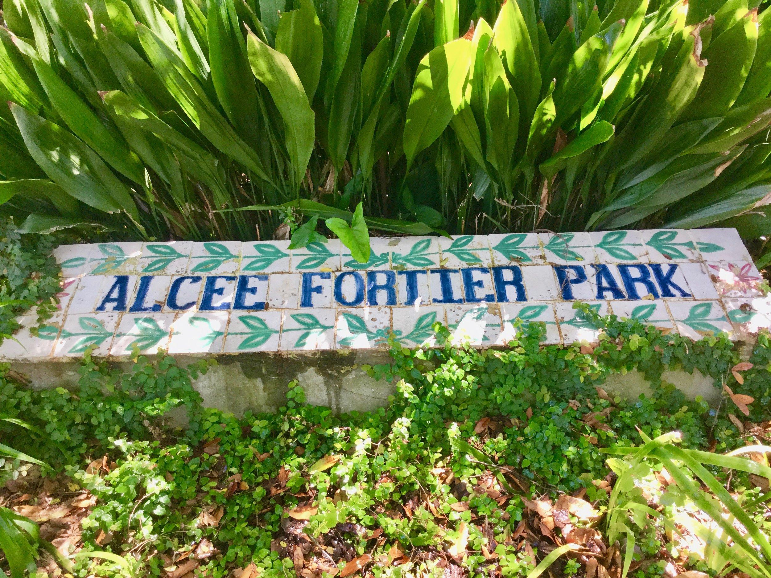 Alcee Fortier Park sign on Esplanade Avenue, New Orleans, LA