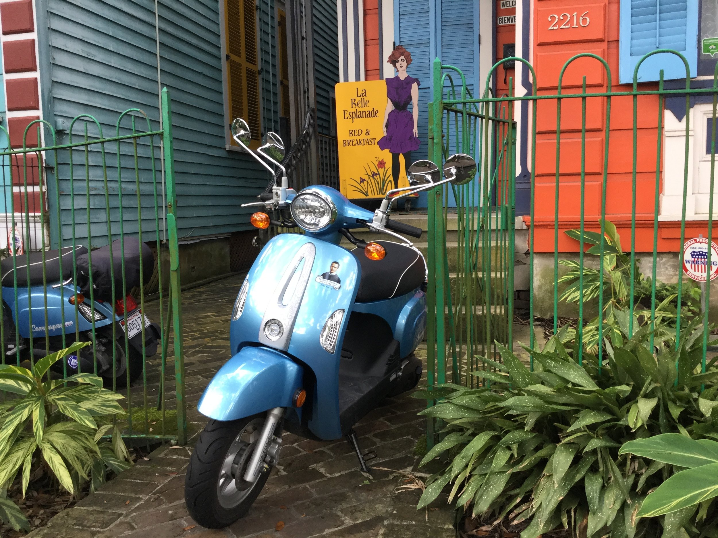 A motor scooter on the 2200 block of Esplanade Avenue.