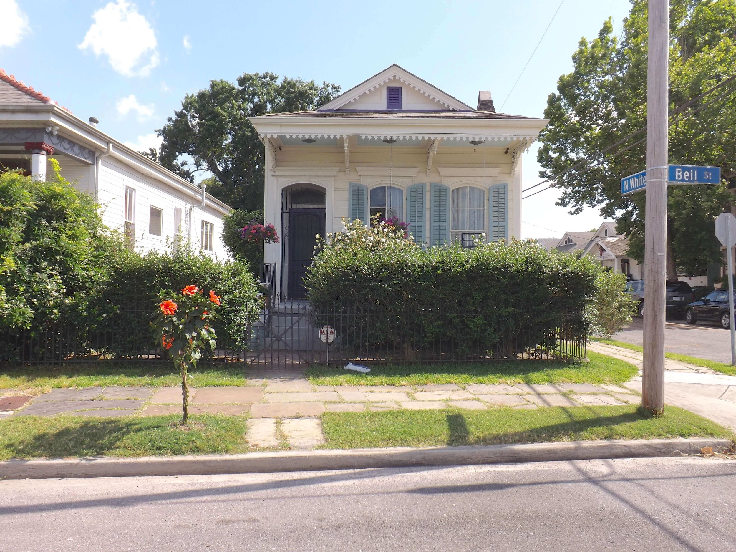 A house on the corner of Bell and N. White Streets off Esplanade Avenue in New Orleans.