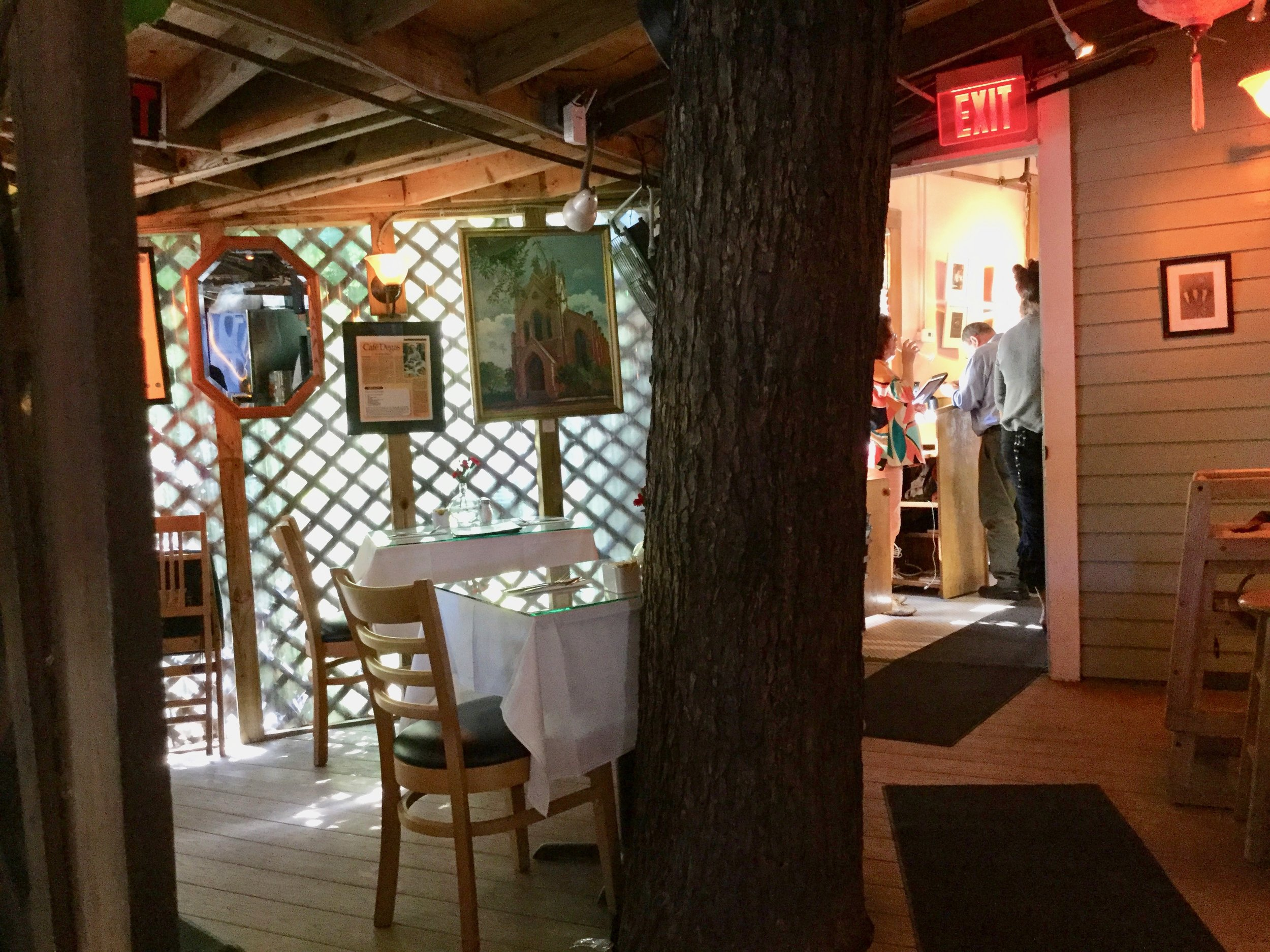 A tree grows in New Orleans----right through the dining room in Cafe Degas!