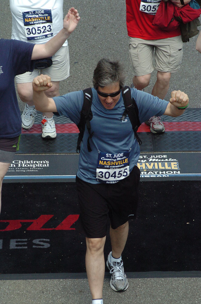 Crossing the marathon finish line
