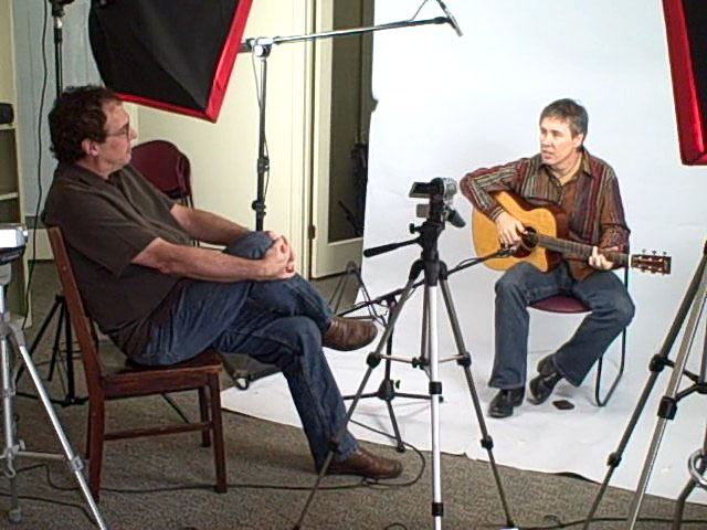 Doing an interview with Acoustic Guitar magazine