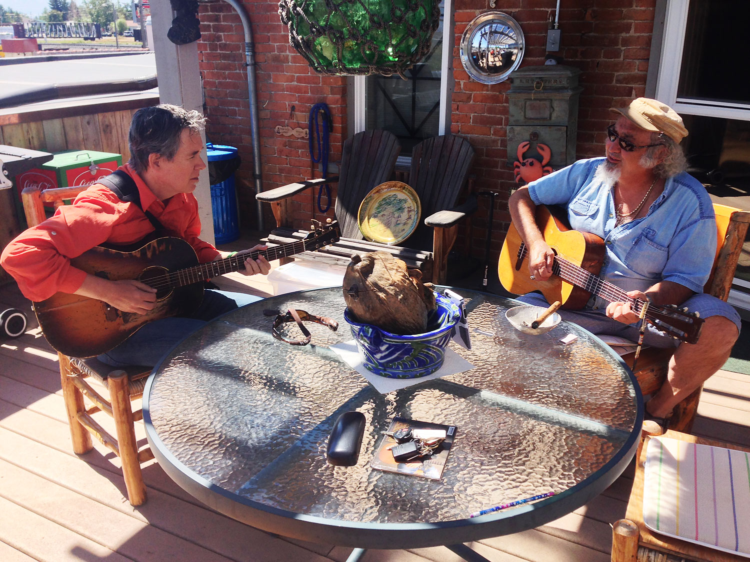 Jamming with famed songwriter Kostas at his home in Montana