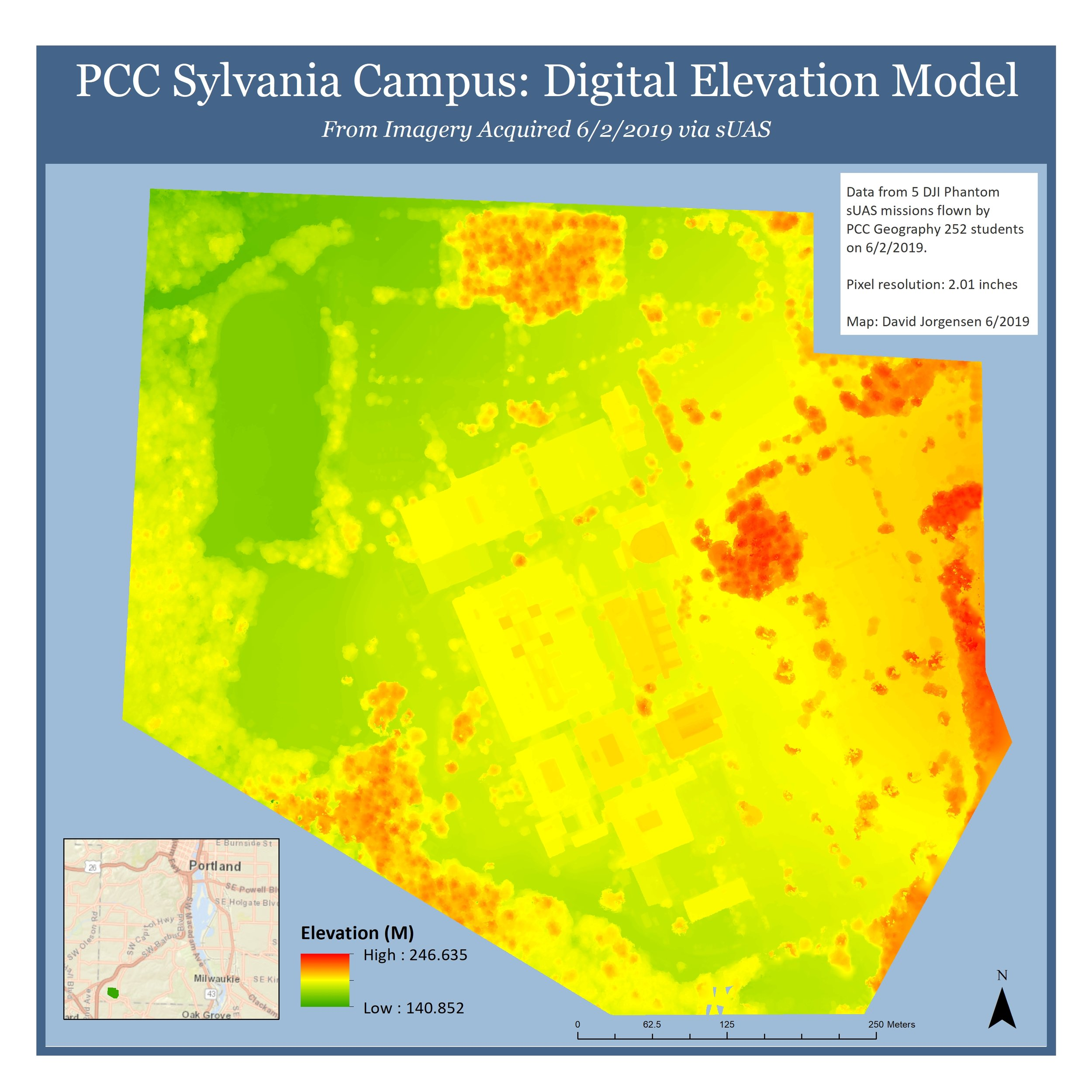 PCC Sylvania Digital Elevation Model - Planning and executing a multi-team drone flight operation and processing the acquired data to produce a highly accurate Digital Elevation Model of the PCC Sylvania Campus.