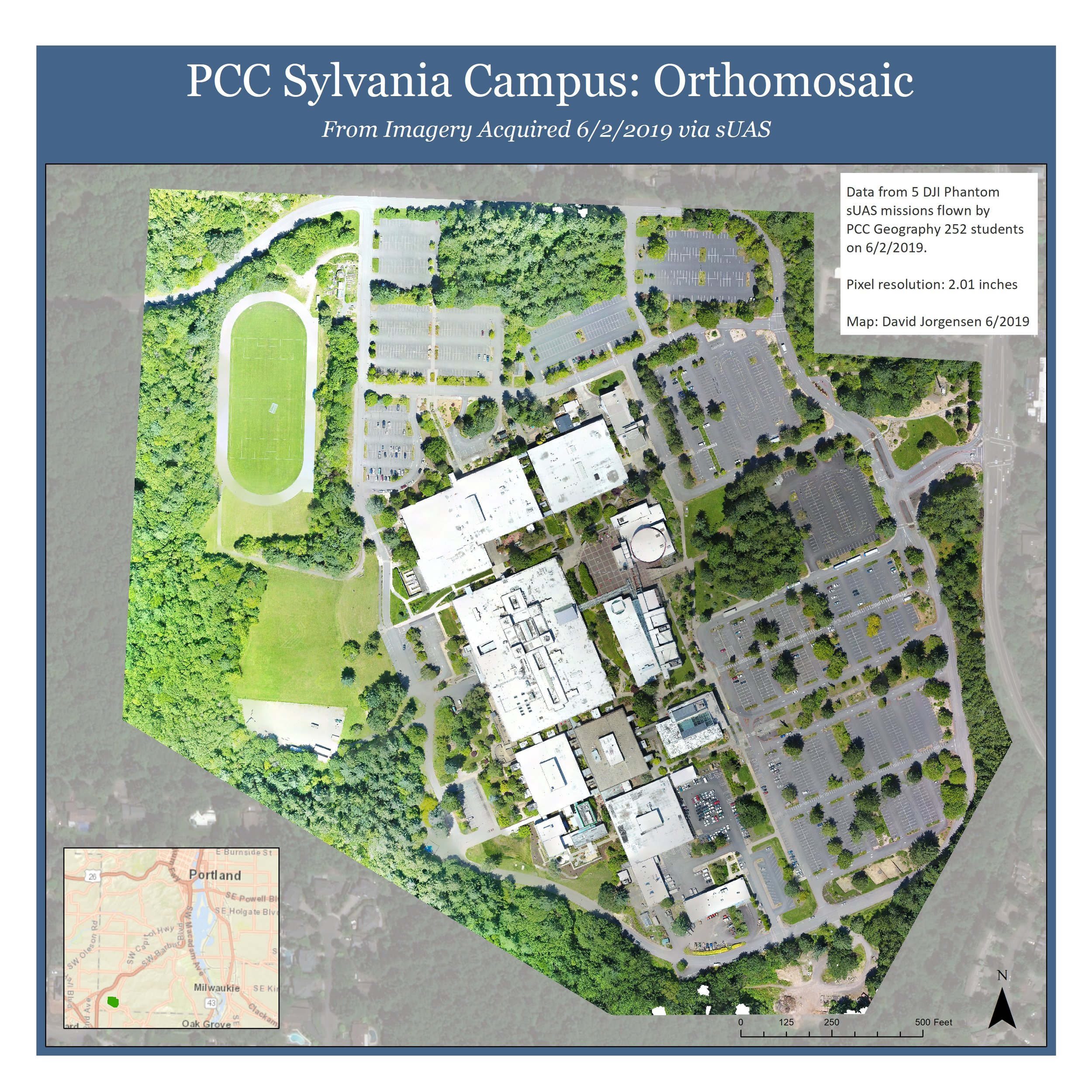 PCC Sylvania Orthomosaic - Planning and executing a multi-team drone flight operation and processing the acquired data to produce a highly accurate Orthomap of the PCC Sylvania Campus.