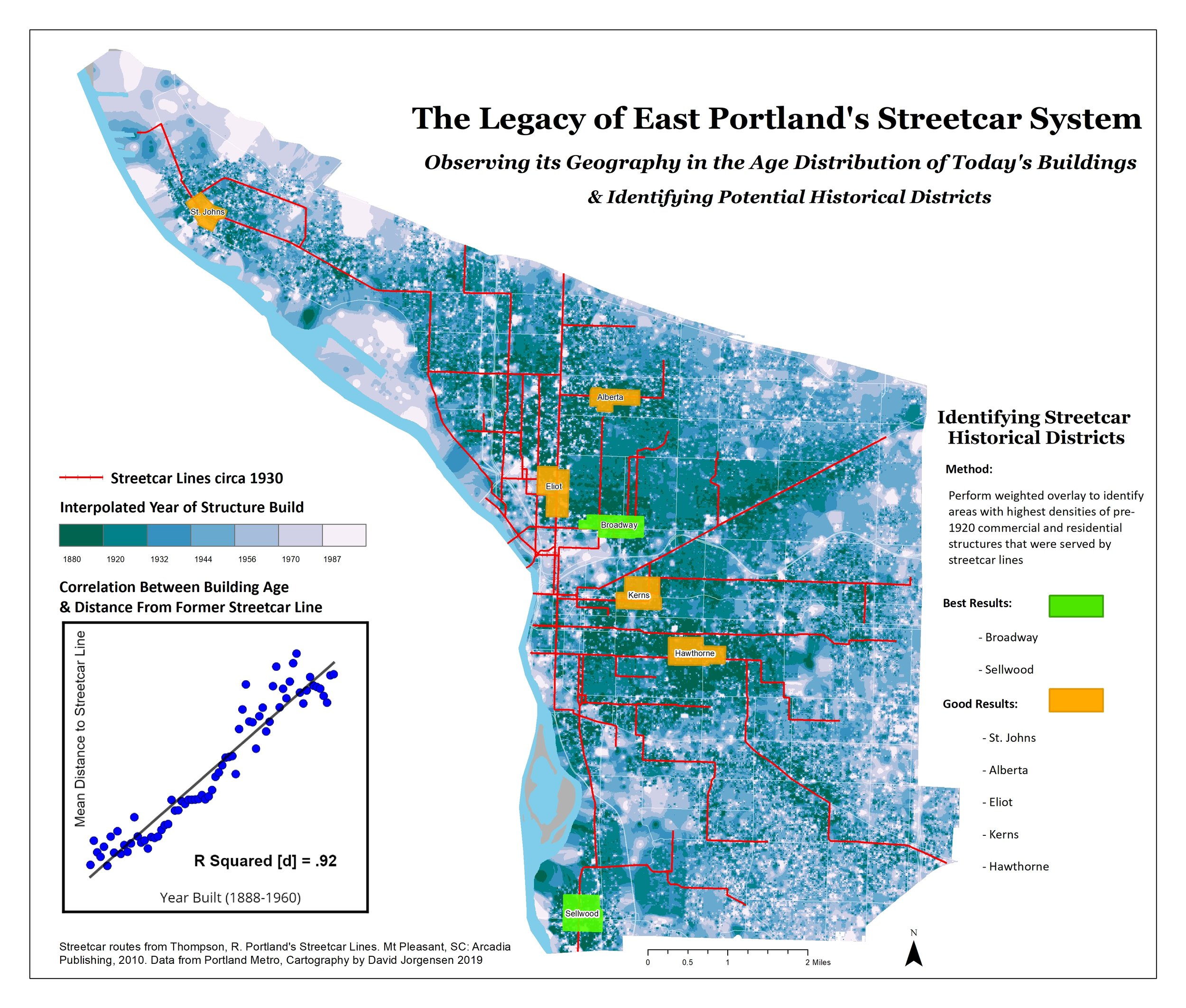 Portland's Streetcar Legacy - Examining how long-dismantled streetcar routes are still reflected in the age of East Portland's current building stock, and identifying potential Streetcar Historical Districts