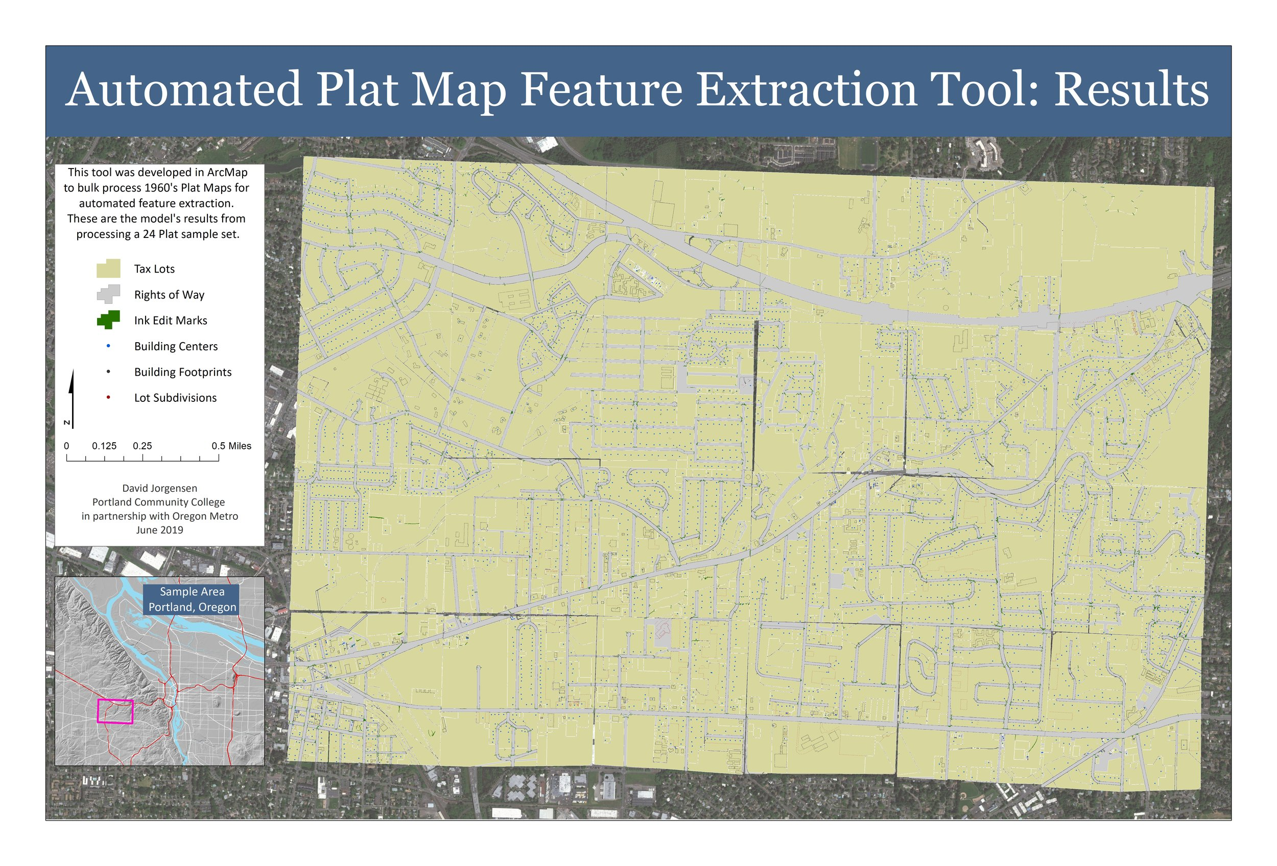 Automated Feature Extraction from Vintage Plat Maps - Training ArcMap to automatically extract features such as building centers and Right Of Ways from scanned 1960's quarter section plat maps.