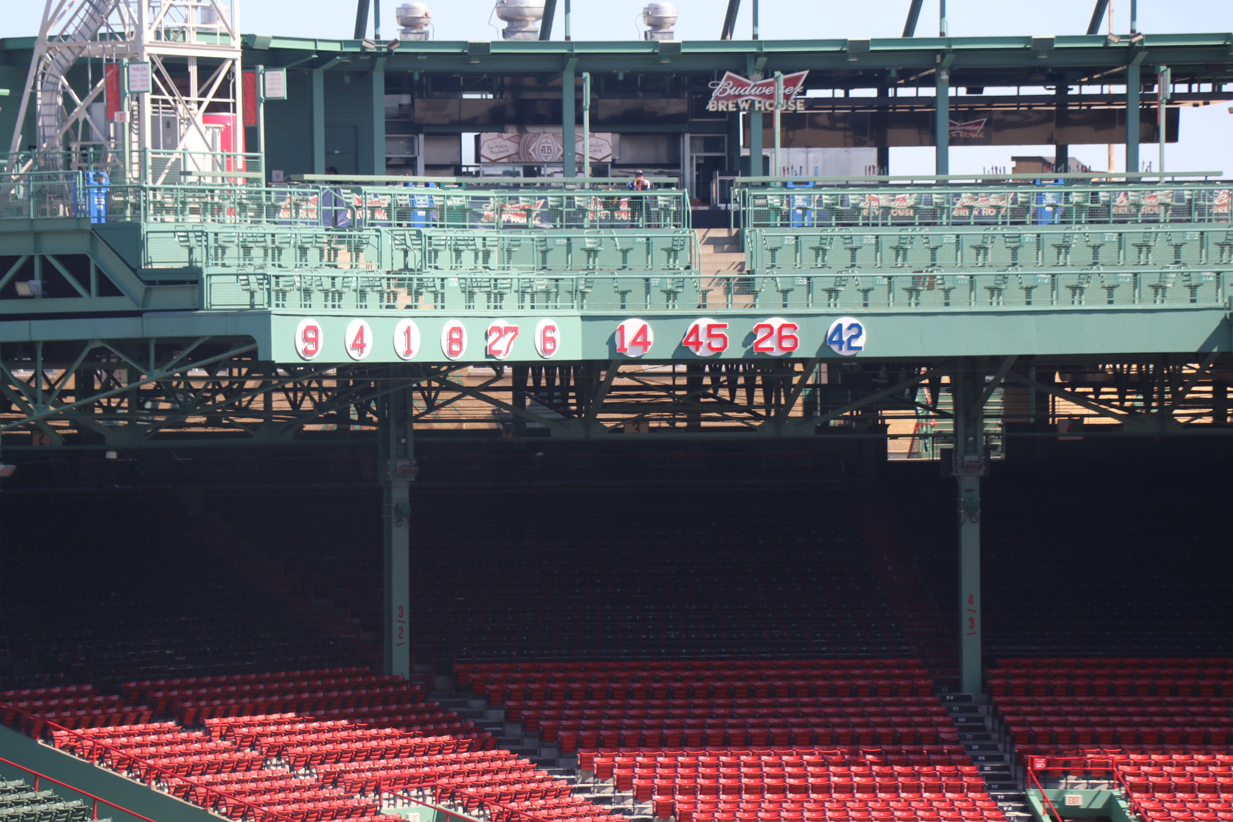 All retired numbers in the Red Sox history - number 42 is retired all over the league for Jackie Robinson