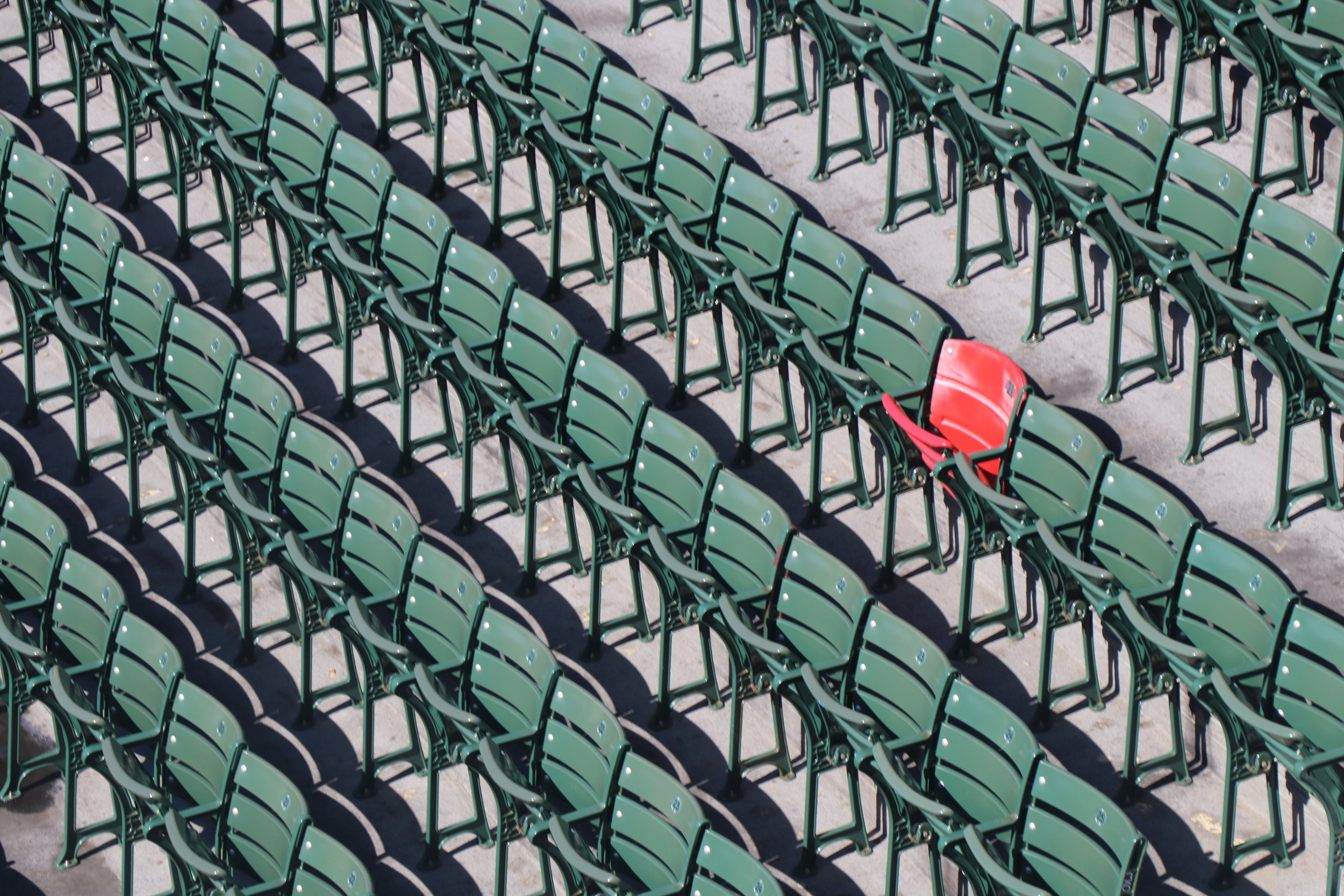 Only red seat in the outfield seating - farthest home run hit in Fenway - hit by Ted Williams