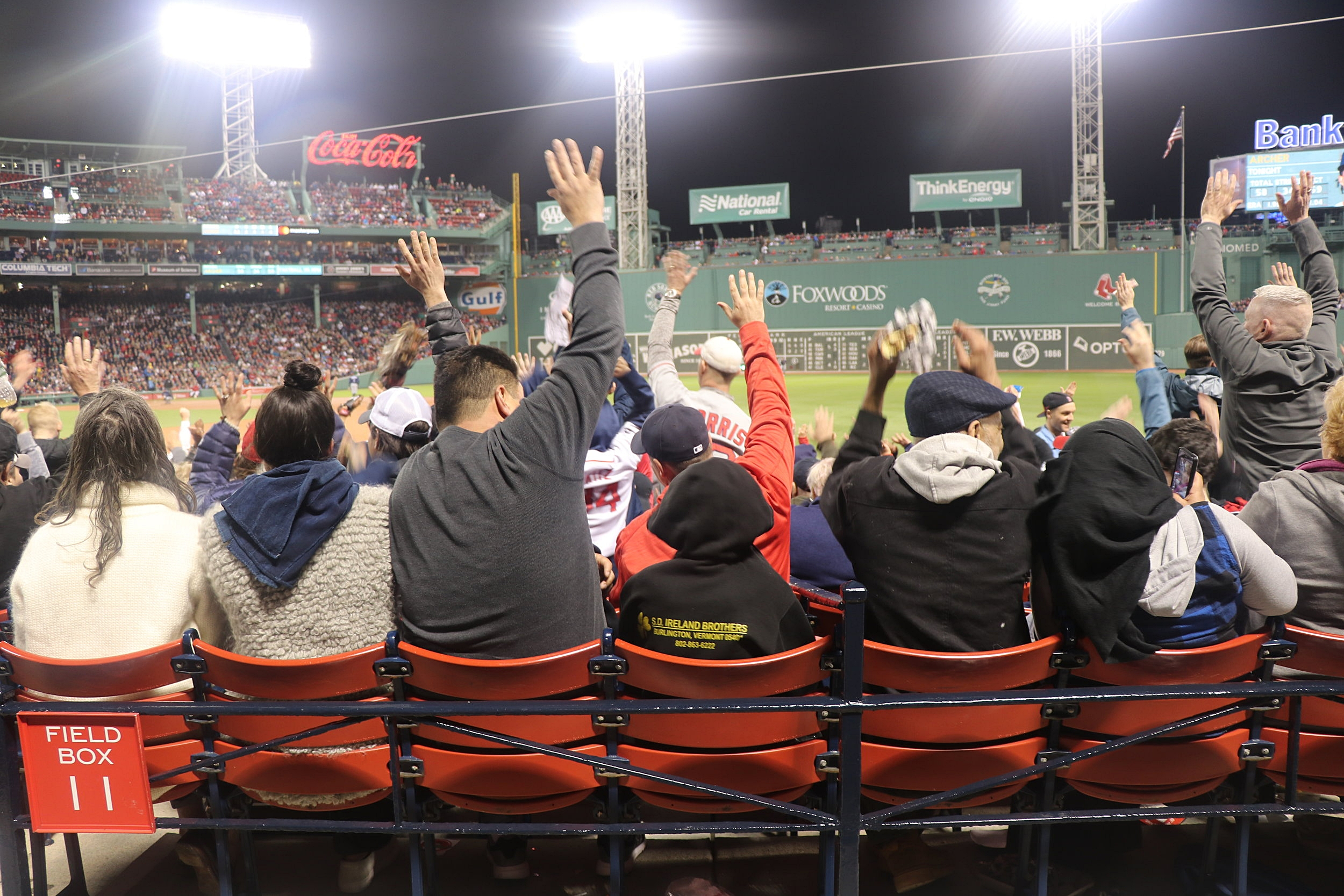 Fans doing the wave - happens throughout the whole game
