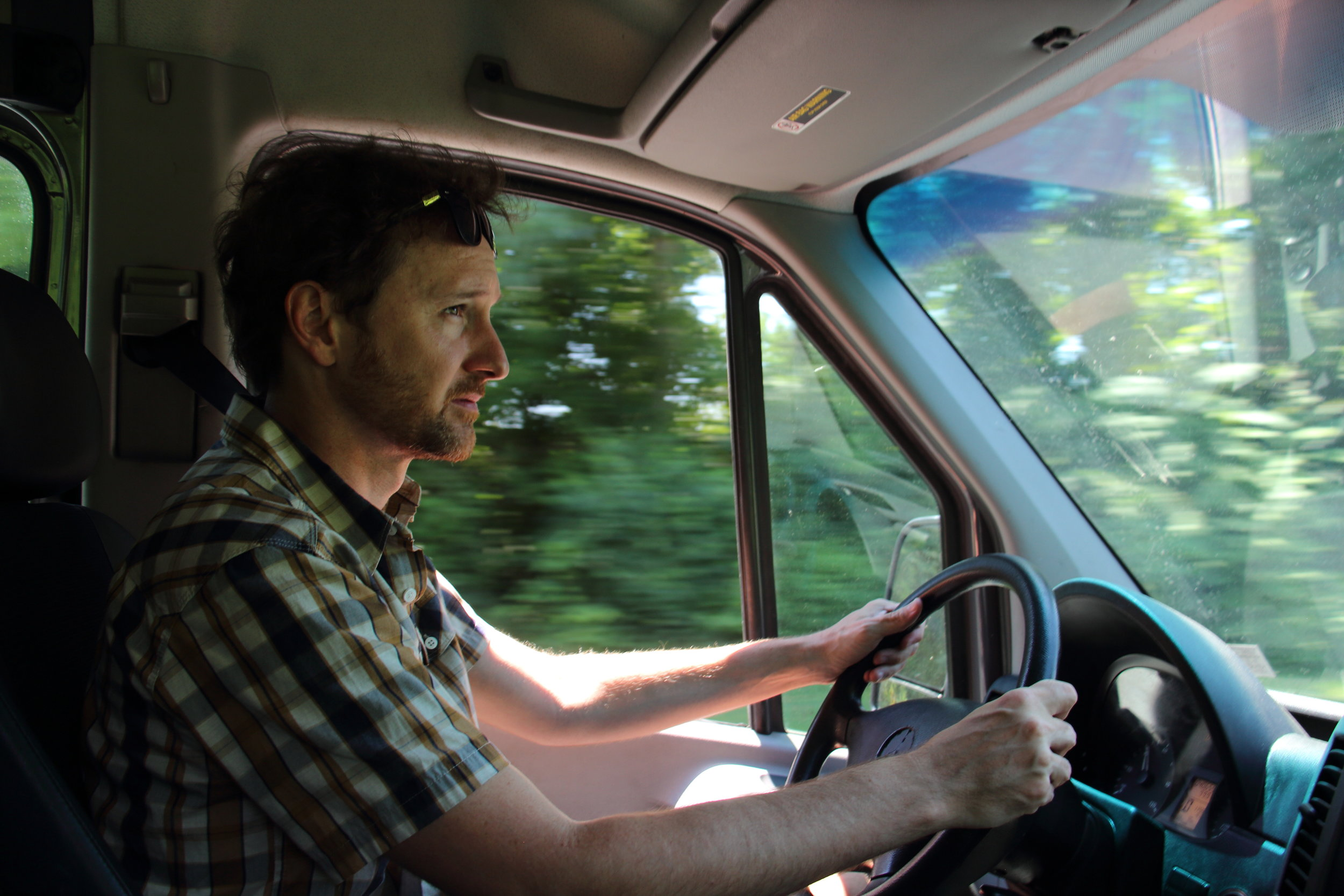 Test driving the van. We didn't get to go on the highway, but still managed to punch it a few times.