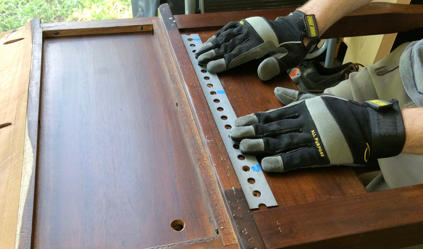 Positioning a rear bracket, for the back of Shelly's  roll top desk .