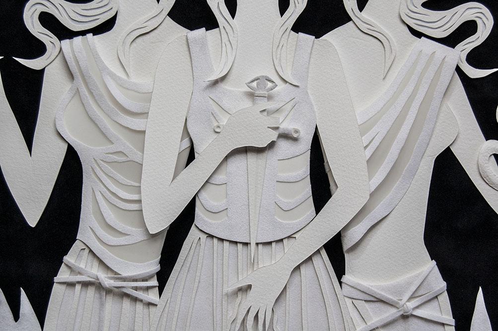 HEKATE (detail)  Hand cut paper, vellum