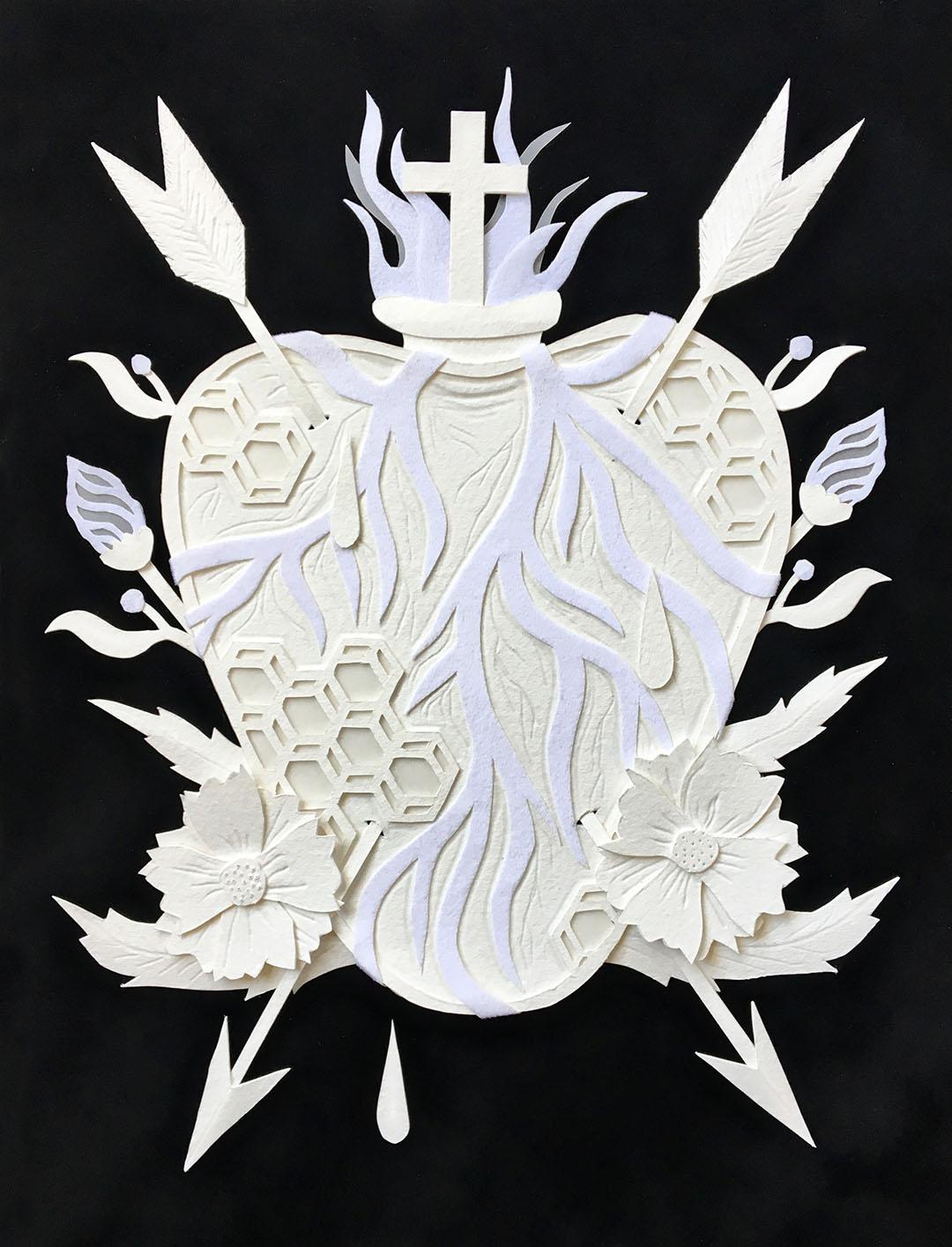 """EL CORAZON  Hand cut paper and vellum Cactus Gallery """"Loteria IV"""""""