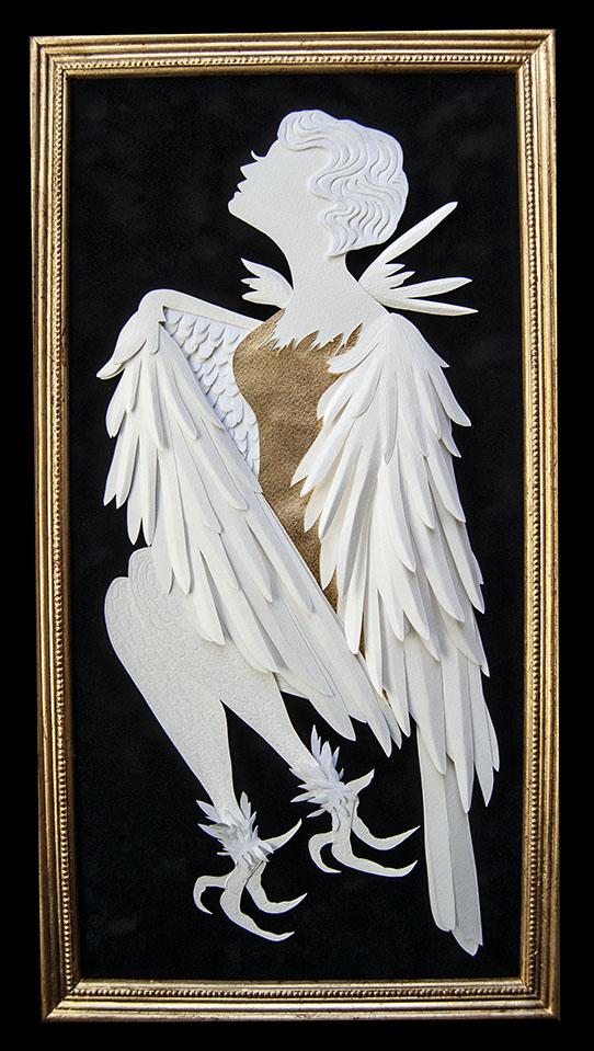 "HARPY Hand cut paper/ Metal Leaf Dimensions:  11"" x 21.25"" (Framed)"